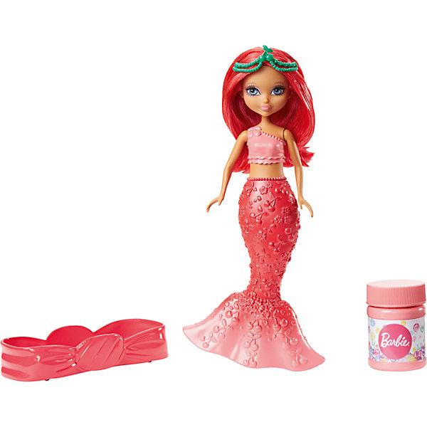Маленькая русалочка с пузырьками, BarbieКуклы<br>Характеристики товара:<br><br>• комплектация: кукла, контейнер для жидкости, раствор для мыльных пузырей<br>• материал: пластик<br>• серия: Barbie™ Dreamtopia <br>• высота куклы: 19 см<br>• возраст: от трех лет<br>• упаковка: блистер на картоне<br>• размер упаковки: 16х22х5 см<br>• вес: 0,3 кг<br>• страна бренда: США<br><br>Эта красивая кукла Барби порадует маленьких любительниц мыльных пузырей! Чтобы начать с ней играть, необходимо просто налить раствор из бутылочки и с помощью куклы начать пускать мыльные пузыри! Барби-русалочка из серии Dreamtopia станет великолепным подарком для девочек. Кукла дополнена ярким хвостом и роскошными волосами.<br><br>Куклы - это не только весело, они помогают девочкам развить вкус и чувство стиля, отработать сценарии поведения в обществе, развить воображение и мелкую моторику. Кукла от бренда Mattel не перестает быть популярной! <br><br>Маленькая русалочка с пузырьками, Barbie, от компании Mattel можно купить в нашем интернет-магазине.<br>Ширина мм: 233; Глубина мм: 154; Высота мм: 48; Вес г: 183; Возраст от месяцев: 36; Возраст до месяцев: 72; Пол: Женский; Возраст: Детский; SKU: 5389695;