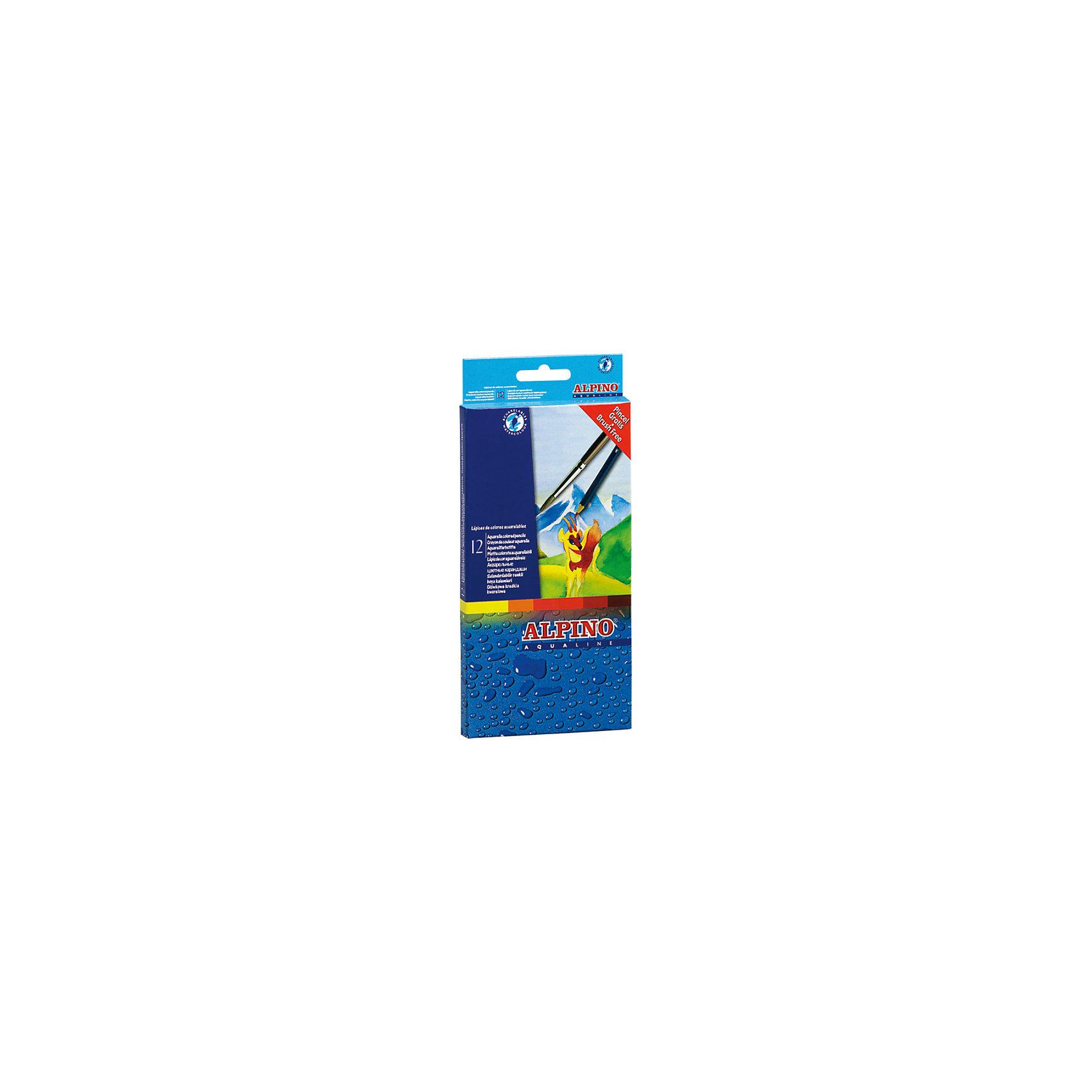 Цветные шестигранные акварельные карандаши AQUALINE, 12 цв. + кисточка