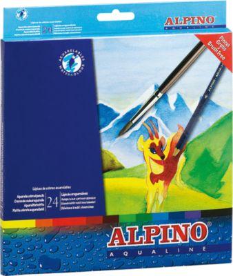 ALPINO Цветные шестигранные акварельные карандаши AQUALINE, 24 цв. + кисточка