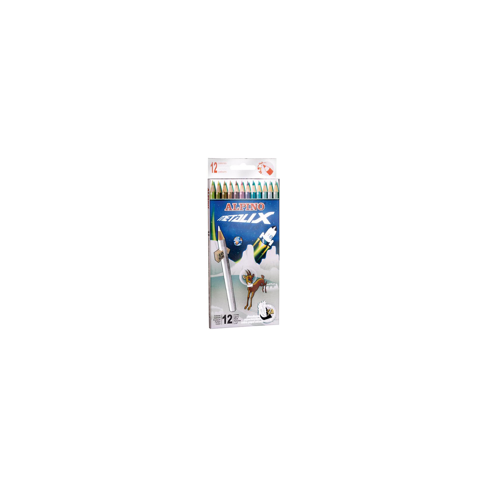 Цветные шестигранные карандаши METALIX (с металлизированным эффектом цвета), 12 цв.Рисование<br>Изготовлены из натуральных материалов по европейским стандартам качества (CE)<br>Параметры карандашей - диаметр корпуса: 6,9 мм, диаметр грифеля: 3 мм<br>Грифель даёт чистые, яркие и насыщенные цвета<br>Особенно интересные (фантастические) эффекты каждого цвета получаются на бумаге или картоне тёмных цветов. Рисование доставит истинное удовольствие детям и взрослым, а изображения зимних, ночных и вечерних сюжетов, а также водной стихии, подводного мира и космоса будут необыкновенно выразительны и удивительно правдоподобны<br>Легко отстирывается с большинства обычных тканей<br>Поломку грифеля предупреждает специальная технология его вклеивания<br>Качественная древесина обеспечивает лёгкое затачивание при помощи стандартных точилок<br>Упаковка с европетлей<br>Производитель: ALPINO (Испания)<br><br>Ширина мм: 90<br>Глубина мм: 10<br>Высота мм: 217<br>Вес г: 76<br>Возраст от месяцев: 36<br>Возраст до месяцев: 120<br>Пол: Унисекс<br>Возраст: Детский<br>SKU: 5389704