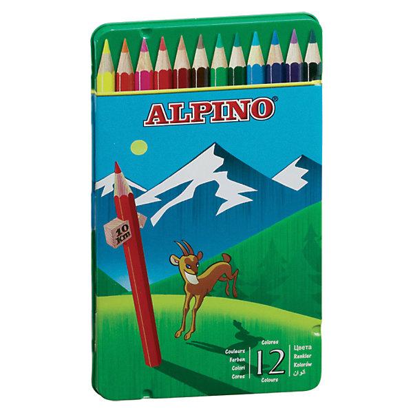 Цветные шестигранные карандаши, 12 цв.Цветные<br>Изготовлены из натуральных материалов по европейским стандартам качества (CE).<br>Набор комплектован по рекомендациям опытных педагогов для использования при занятиях по школьной программе.<br>Параметры карандашей - диаметр корпуса: 6,9 мм, диаметр грифеля: 3 мм.<br>Грифель даёт чистые, яркие и насыщенные цвета.<br>Легко отстирывается с большинства обычных тканей.<br>Поломку грифеля предупреждает специальная технология его вклеивания.<br>Качественная древесина обеспечивает лёгкое затачивание при помощи стандартных точилок.<br>В подарочном металлическом футляре<br>Производитель: ALPINO (Испания)<br>Ширина мм: 102; Глубина мм: 13; Высота мм: 187; Вес г: 148; Возраст от месяцев: 36; Возраст до месяцев: 120; Пол: Унисекс; Возраст: Детский; SKU: 5389708;