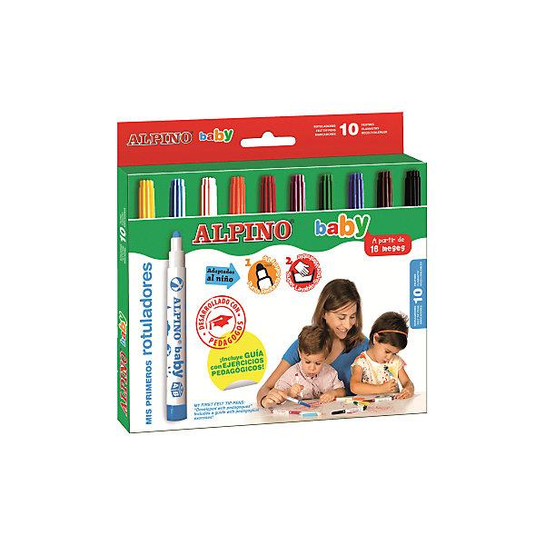 Фломастеры baby, 10 цв.Фломастеры<br>Изготовлены по европейским стандартам качества и безопасности для детей в возрасте от 18 месяцев (CE, BS 7272- 1/2, ISO 11540).<br>Вентилируемый колпачок и неразделяемый на детали корпус.<br>Экологически чистые чернила на водной основе и натуральных красителях (Non-Allergic).<br>Чистые, яркие и насыщенные цвета, повышенный ресурс эксплуатации.<br>Рекомендуется опытными педагогами для эффективного развития мелкой моторики и развития навыков изобразительного творчества с самого раннего возраста. Эргономичная форма корпуса адаптирована для правильного расположения пальцев. Регулярное использование эффективно подготавливает руки к более сложным упражнениям с пишущими принадлежностям.<br>На каждый фломастер нанесены любимые детские образы (звёздочка, тучка, мячик, солнце, зайчик, кубик с буквами, цветочек, машинка), которые служат хорошей подсказкой для рисования.<br>Утолщённый волоконно-капиллярный стержень шарообразной формы, устойчивый от вдавливания в корпус при высокой нагрузке. Обеспечивает безопасность при использовании и одинаковую функциональность при любом наклоне к пишущей поверхности. Очень удобный для начертания хорошо видимых линий и при закрашивании больших поверхностей.<br>Смываются с кожи без применения мыла, легко отстирываются с большинства обычных тканей.<br>Материал корпуса: полипропилен (РР), материал колпачка: полиэтилен.<br>Упаковка с европетлей<br>Производитель: ALPINO (Испания)<br><br>Ширина мм: 220<br>Глубина мм: 12<br>Высота мм: 205<br>Вес г: 157<br>Возраст от месяцев: 18<br>Возраст до месяцев: 60<br>Пол: Унисекс<br>Возраст: Детский<br>SKU: 5389720