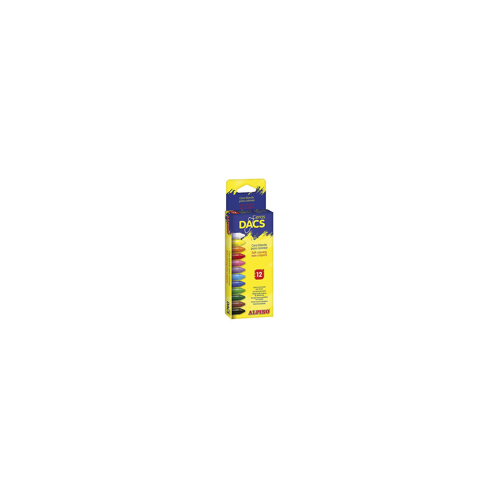 Восковые карандаши Ceras DACS, 12 цв.Рисование<br>Изготовлены по европейским стандартам качества (CE, EN 71, ISO 14021).<br>Экологически чистый материал без аллергических компонентов на основе натурального воска (Non-Allergic).<br>Особая кремовая мягкость, позволяющая смешивать цвета и получать новые оттенки. Утолщённое сечение.<br>Чистые, яркие и насыщенные цвета. Отсутствие слоистости и равномерное окрашивание.<br>Рекомендуются опытными педагогами для развития навыков изобразительного творчества. Идеально подходят для начертания хорошо видимых жирных линий и при закрашивании больших поверхностей. Замечательно рисуют на бумаге, картоне, ватмане, деревянных, глиняных и других шероховатых поверхностях.<br>Низкая утомляемость рук.<br>Водоустойчивые и устойчивые к ломке, не пачкают руки, стираются обычным ластиком.<br>Очень легко затачиваются.<br>Смываются с кожи без применения мыла, легко отстирываются с большинства обычных тканей.<br>Упаковка с европетлей<br>Производитель: ALPINO (Испания)<br><br>Ширина мм: 70<br>Глубина мм: 16<br>Высота мм: 225<br>Вес г: 73<br>Возраст от месяцев: 36<br>Возраст до месяцев: 120<br>Пол: Унисекс<br>Возраст: Детский<br>SKU: 5389738