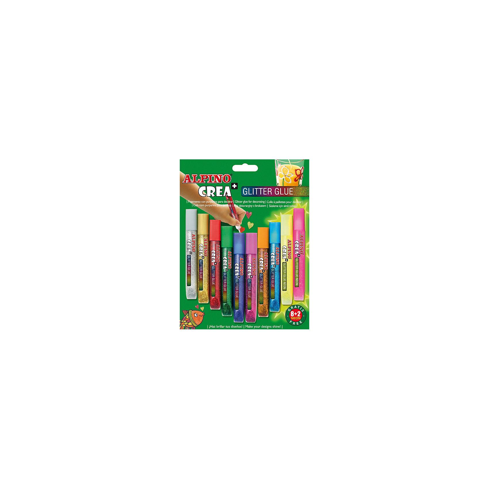 Гелевые карандаши CREA Classic&Neon (гель-краски с блестками для декорирования), 8 Classic + 2 Neon = 10 цв.