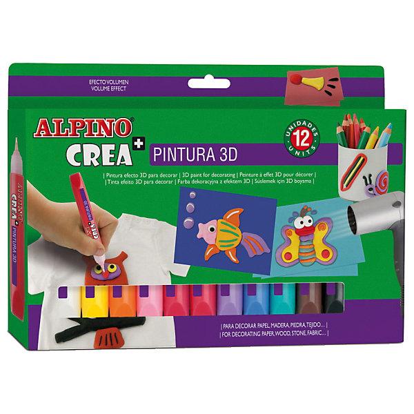 Гелевые карандаши CREA 3D (гель-краски для объемного декорирования), 12 цв.Цветные<br>Экологичная продукция европейского производства, изготовленная по наилучшим существующим технологиям<br>Сертификация по европейским стандартам качества и безопасности (CE, EN 71), декларирование соответствия по ТР ТС для использования детьми от 6 лет<br>Гелевые карандаши с 3D рисунком обладают уникальными свойствами и идеально подходят для многих видов хобби и творчества Произведены с использованием натуральных материалов и природных пигментов, не содержат вредных или потенциально аллергенных веществ (Non-Allergic) Безопасны для чувствительности детской кожи, смываются с кожи с применением мыла Чистые, яркие, насыщенные цвета, превосходная светостойкость<br>Рекомендуется педагогами для развития у детей и подростков цветоощущений, абстрактного мышления, эстетического вкуса, самостоятельности, уверенности и позитивной самооценки.<br>Содержание набора: гелевые карандаши 12 цветов<br>Гелевые карандаши имеют одинаковую функциональность при любом наклоне к пишущей поверхности, удобны как при нанесении контуров рисунков, так и при их раскрашивании<br>Порядок нанесения: нанести рисунок гелевым карандашом, дать гелевому составу высохнуть в течение 2-3 часов. Высохший гель нагреть феном до превращения плоского изображения в объемный 3D рисунок 3D рисунок придает волшебный вид обычным предметам из картона, дерева, стекла, камня и других материалов<br>Упаковка с европетлей<br>Производитель: ALPINO (Испания)<br>Ширина мм: 242; Глубина мм: 20; Высота мм: 170; Вес г: 242; Возраст от месяцев: 36; Возраст до месяцев: 120; Пол: Унисекс; Возраст: Детский; SKU: 5389750;