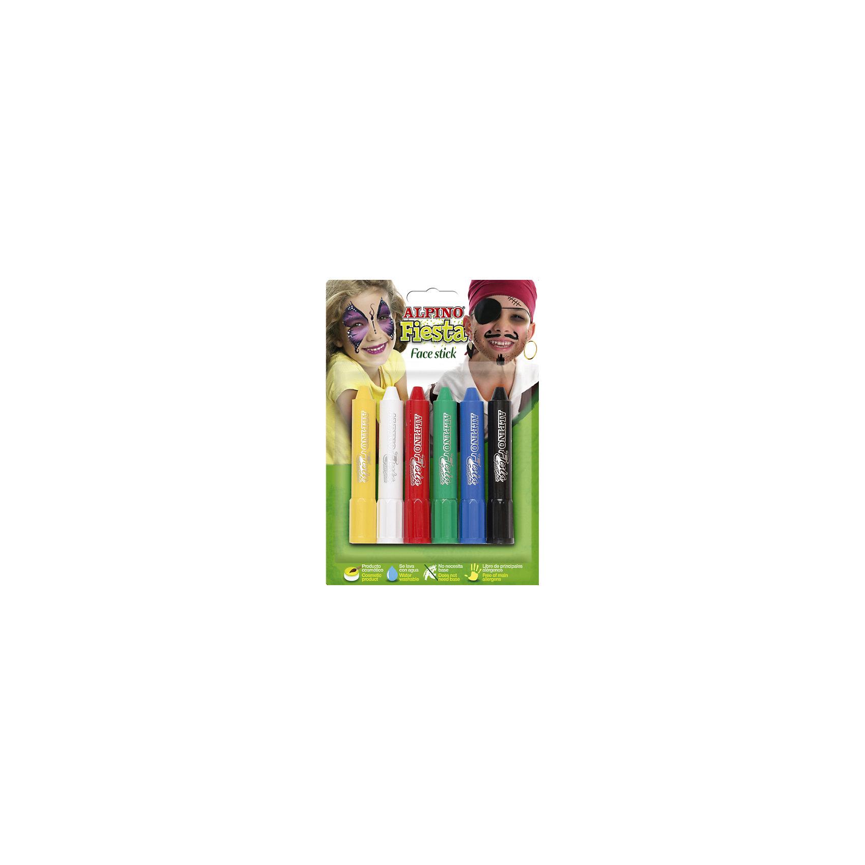 Детский аквагрим Face Stick (макияжные карандаши), 6*5 гр, 6 цв.Всё для праздника<br>Экологичная детская декоративная косметика европейского производства, изготовленная по наилучшим существующим технологиям на основе растительных ингредиентов и воды<br>Не содержит компонентов молока, яиц, клейковины, орехов, бобов, латекса и других потенциально аллергенных ингредиентов (Non-Allergic)<br>Разрешена для применения детьми от 3 лет по европейским стандартам качества и безопасности, а также нормам ТР ТС 009/2011 «О безопасности парфюмерно-косметической продукции» (включена в перечень детских товаров, допущенных к обращению во всех странах Таможенного союза)<br>Рекомендуется педагогами и медицинскими специалистами для эффективного развития детей в ходе игровых форм обучения и воспитания. Считается лучшей продукцией для художественного самодеятельного творчества, детских праздников, дискотек и других культурно-развлекательных и спортивно–зрелищных молодежных мероприятий<br>Состав набора: макияжные карандаши в пластиковом корпусе (6 x 5 гр, 6 цв.)<br>Макияжные карандаши имеют особую кремовую мягкость, высокую кроющую способность и представлены в наборе жёлтым, белым, красным, зелёным, синим и чёрным цветами. Различные цвета могут смешиваться, позволяя получать новые цвета и оттенки. Нанесённый макияж не пачкается и имеет глянцевый тон. Пластиковый тюбик позволяет хранить и переносить карандаши вне упаковки, например, в карманах, пеналах, портфеле или ранце. Набор является идеальным решением для создания нужного образа на празднике или для дружной и выразительной поддержки любимой команды на спортивных, музыкальных, художественных и иных состязаниях и конкурсах<br>Предварительное нанесение пасты-грунта не требуется, продукция безопасна при интенсивном контакте с кожей в течение длительного времени (не менее 24 часов)<br>Легко смывается с кожи, не имеет запаха, не красится, не оставляет жирных пятен, отстирывается с детской одежды и других тканей в режиме обычной стирки<br>Упа