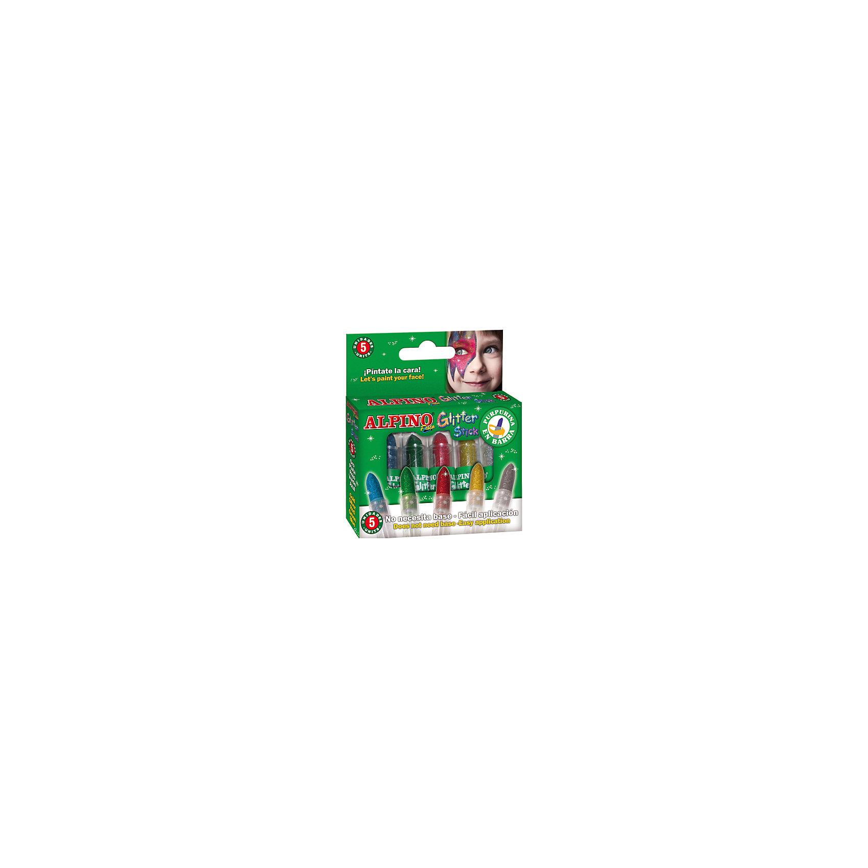 Детский аквагрим Glitter Stick (макияжные карандашис блестками), 5*4 гр, 5 цв.