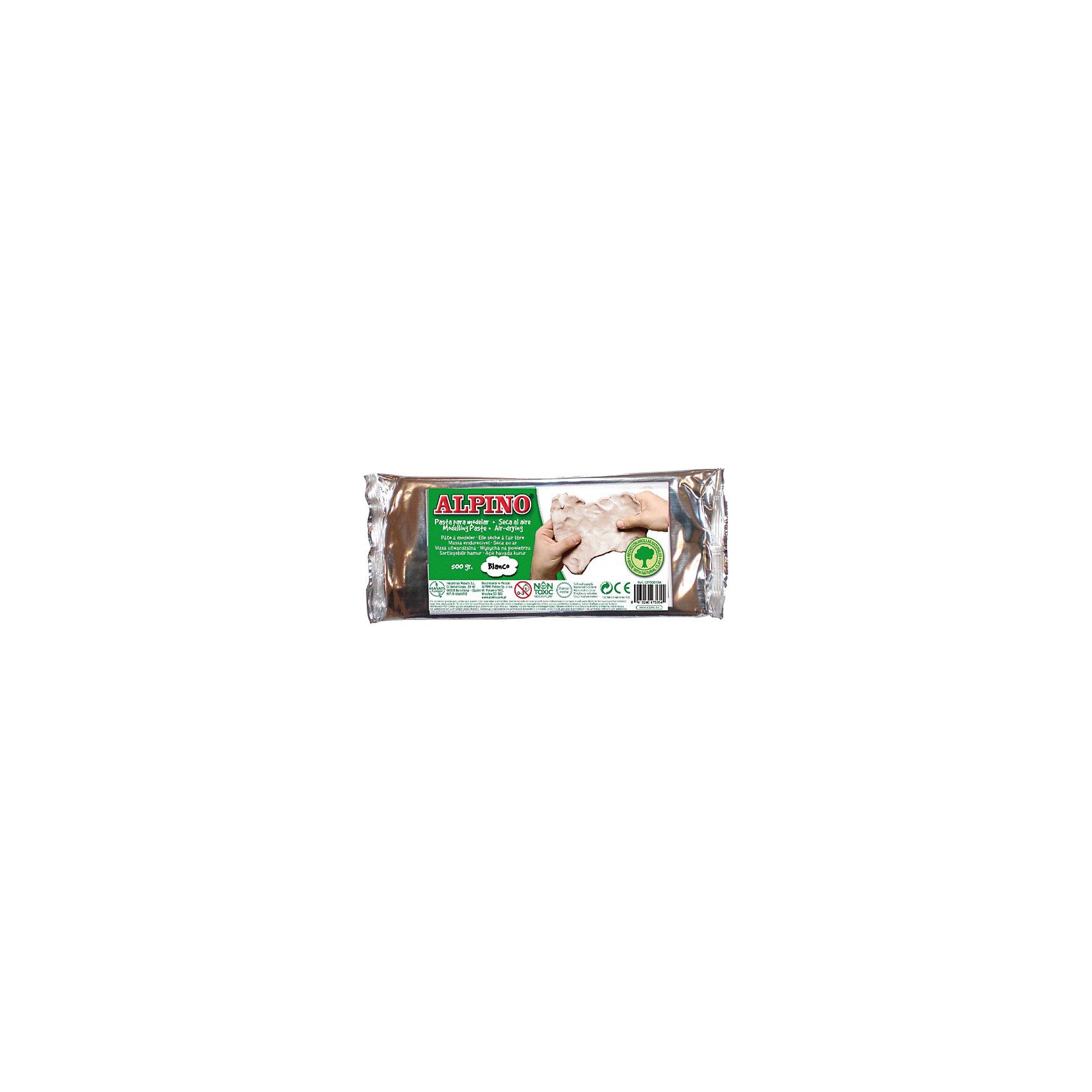 Паста для моделирования, 500гр, цвет белыйНаборы полимерной глины<br>Сертифицирована по европейским стандартам качества и безопасности (CE, EN 71/3), а также по ТР ТС для использования детьми от 3 лет<br>Состав: натуральная глина, органические (растительные) полимеры, экологически чистый пластификатор, вода<br>Основные свойства и параметры:<br>??Благодаря современным инновационным технологиям и старинным рецептам, передаваемым лучшими мастерами из поколения в поколение, состав и консистенция пасты (специально подготовленной натуральной глины) оптимально учитывают особенности детского творчества<br>??Мягкая и необыкновенно пластичная консистенция стабильно сохраняет свои свойства в широком температурном режиме<br>??Удивительно податливый и приятный материал для прикладного творчества, который легко разминается и не требует никакой дополнительной подготовки к использованию<br>??Кусочки пасты (глины) хорошо прилипают друг к другу и превосходно держат форму, что позволяет лепить различные, в том числе, мелкие по размеру и сложные детали<br>??Пластичность пасты (глины) вполне соответствует параметрам качественного пластилина<br>??Смывается с кожи рук теплой водой без мыла, легко удаляется с детской одежды, а также других тканей в режиме обычной стирки<br>??Не имеет запаха, не оставляет жирных пятен<br>??Готовые поделки из пасты (глины) отвердевают на воздухе через несколько часов, не давая трещин, их не нужно сушить в духовке и, тем более, обжигать<br>??Высохшая паста (глина) может раскрашиваться в любые цвета с помощью темперных, акриловых, пальчиковых красок, гуаши, фломастеров, маркеров, гель-красок с блёстками для декорирования, восковыми карандашами, восковой пастелью и даже аквагримом и др. материалами, пригодными для нанесения на высохшую глину<br>??Срок годности пасты в герметичной фольгированной упаковке не ограничен<br>Производитель: ALPINO (Испания)<br><br>Ширина мм: 250<br>Глубина мм: 15<br>Высота мм: 105<br>Вес г: 525<br>Возраст от месяцев: 36<br>Возраст до 