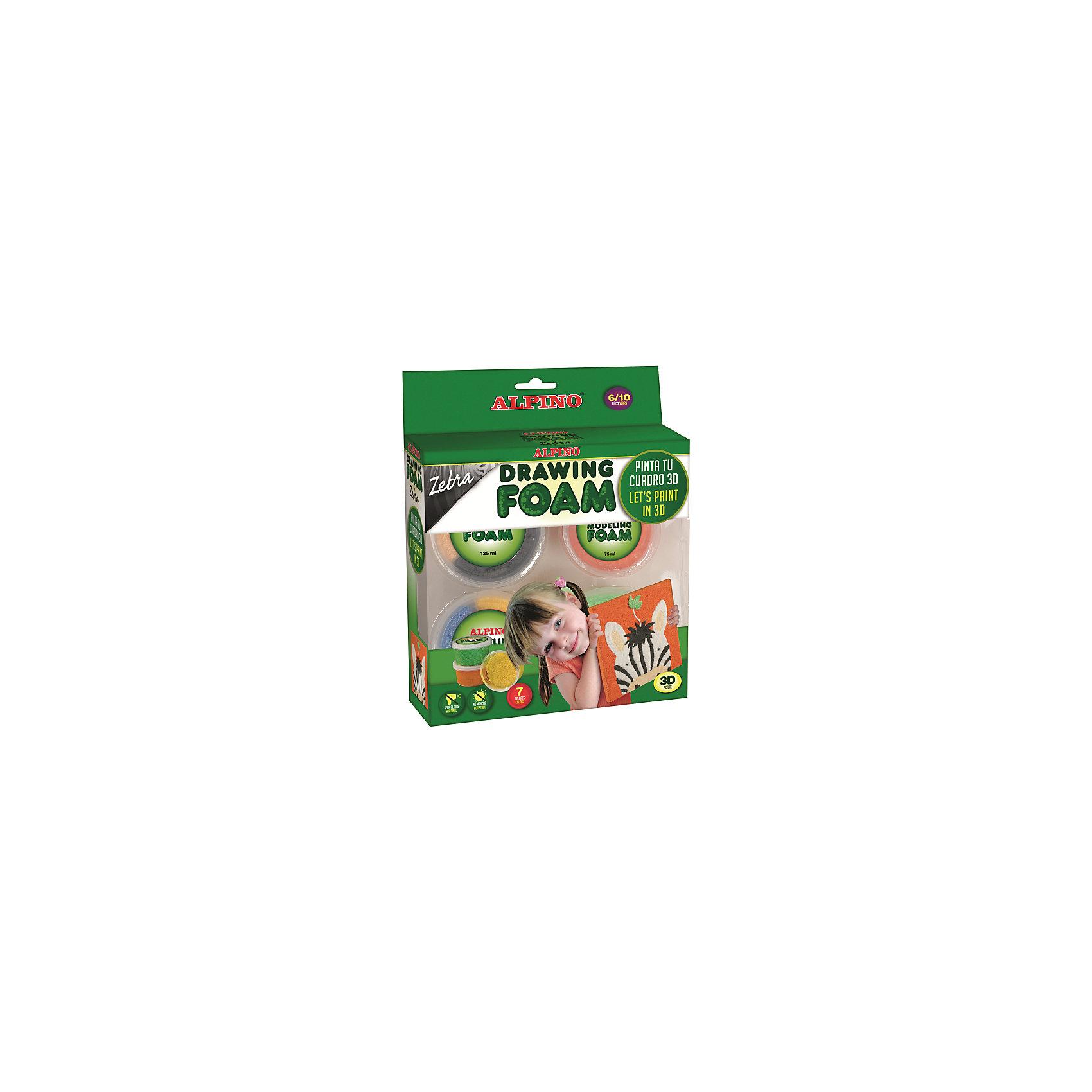 Набор шарикового пластилина ЗЕБРА, 1 x 75 мл и 3 x 125 мл = 450 мл, 7 цв.Лепка<br>В состав набора входит ШАРИКОВЫЙ ПЛАСТИЛИН (6 цветов, 450 мл), инструмент, пластиковая дощечка размером 20х20 см, двигающиеся глазки (2 шт)<br>Свойства:<br>??Не содержит компонентов молока, яиц, клейковины, орехов, бобов, латекса и других потенциально аллергенных веществ (Non-Allergic)<br>??Мягкий, лёгкий, пластичный материал, который легко разминается<br>??Может использоваться для объёмного рисования или декорирования (раскрашивания) рисунков и различных предметов из бумаги, картона, дерева, пластмассы и др. материалов, а также для моделирования (создание поделок) <br>??Кусочки материала замечательно прилипают друг к другу, но не прилипают к рукам и не пачкают их<br>??Чистые, яркие, насыщенные и устойчивые к выцветанию цвета<br>??Различные цвета могут смешиваться в любом сочетании, что позволяет получать новые цвета и оттенки<br>??Полное высыхание при комнатной температуре составляет примерно 12 часов, после чего материал приобретает упругость и надёжно сохраняет форму объёмного рисунка, который можно разместить на стене детской комнаты, на мебели и т.п.<br>??Не пачкается, не крошится, не оставляет пятен и легко удаляется с паркета, любого напольного покрытия, мебели, одежды и тканей<br>Способ применения: <br>1) Выберите цвет, который будете использовать. Размешайте шариковый пластилин в течение нескольких секунд, чтобы добиться более однородной текстуры<br>2) Равномерно распределите шариковый пластилин по дощечке. Используйте инструмент для того, чтобы наметить рисунок<br>3) Чтобы завершить работу, закрепите движущиеся глазки<br>К набору прилагается инструкция.<br>Производитель: ALPINO<br><br>ВНИМАНИЕ:<br>После занятий храните неиспользованный шариковый пластилин в баночках с герметично закрытыми крышками. Учитывайте, что материал изготовлен на водной основе, поэтому на воздухе по мере испарения влаги он приобретает более плотную консистенцию. При уплотнении материала его следует под