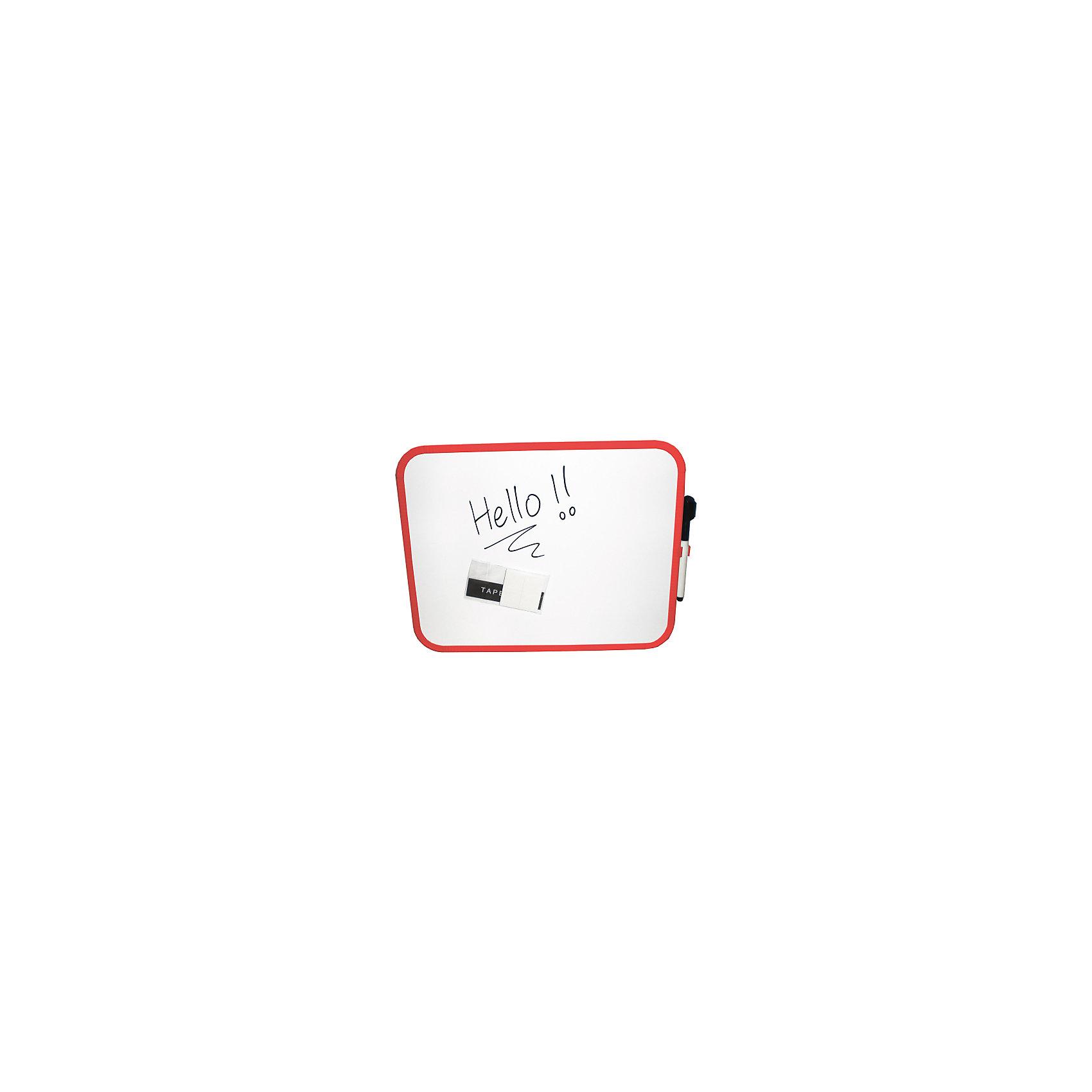 Магнитная маркерная доска с декор.рамками, цвет белый, 4 варианта цвета рамок,27,9 * 35,6 см, 1 шт+маркер-губка