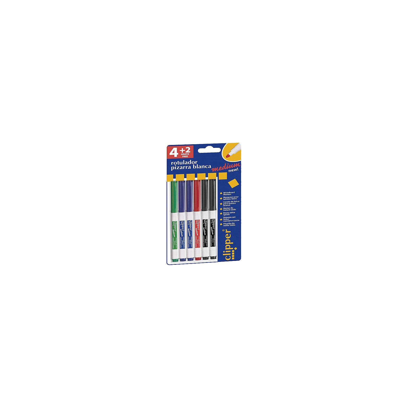 Набор маркеров clipper medium для маркерной доски, 4 цв., 6 шт