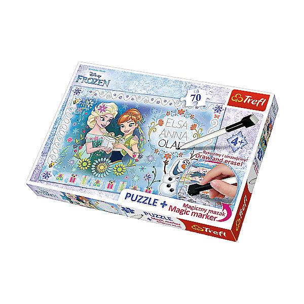 Пазлы День рождения Aнны - Frozen, с фломастеромПазлы для малышей<br>Очаровательные персонажи мультфильма «Холодное сердце» теперь стали героями оригинального пазла «День Рождения Анны – Frozen» из 70 деталей. На картинке изображены милые Анна и Эльза с подарком в руках, а забавный Олаф танцует и веселится рядом с ними.  <br><br>Красивые узоры, подарки, снеговик и имена героев нарисованы пунктиром, чтобы малышка смогла обводить их или добавлять свои детали. В набор входит специальный фломастер с ластиком на обратном конце, поэтому начинающий художник не ограничен в количестве сюжетов и идей. Высококачественный пазл от Trefl – это отличный выбор для юного творца! <br><br>В наборе: 70 деталей пазла, фломастер. <br><br> Размер картинки в собранном виде: 33х22 см.<br>Ширина мм: 337; Глубина мм: 230; Высота мм: 43; Вес г: 328; Возраст от месяцев: 60; Возраст до месяцев: 84; Пол: Женский; Возраст: Детский; Количество деталей: 70; SKU: 5390254;