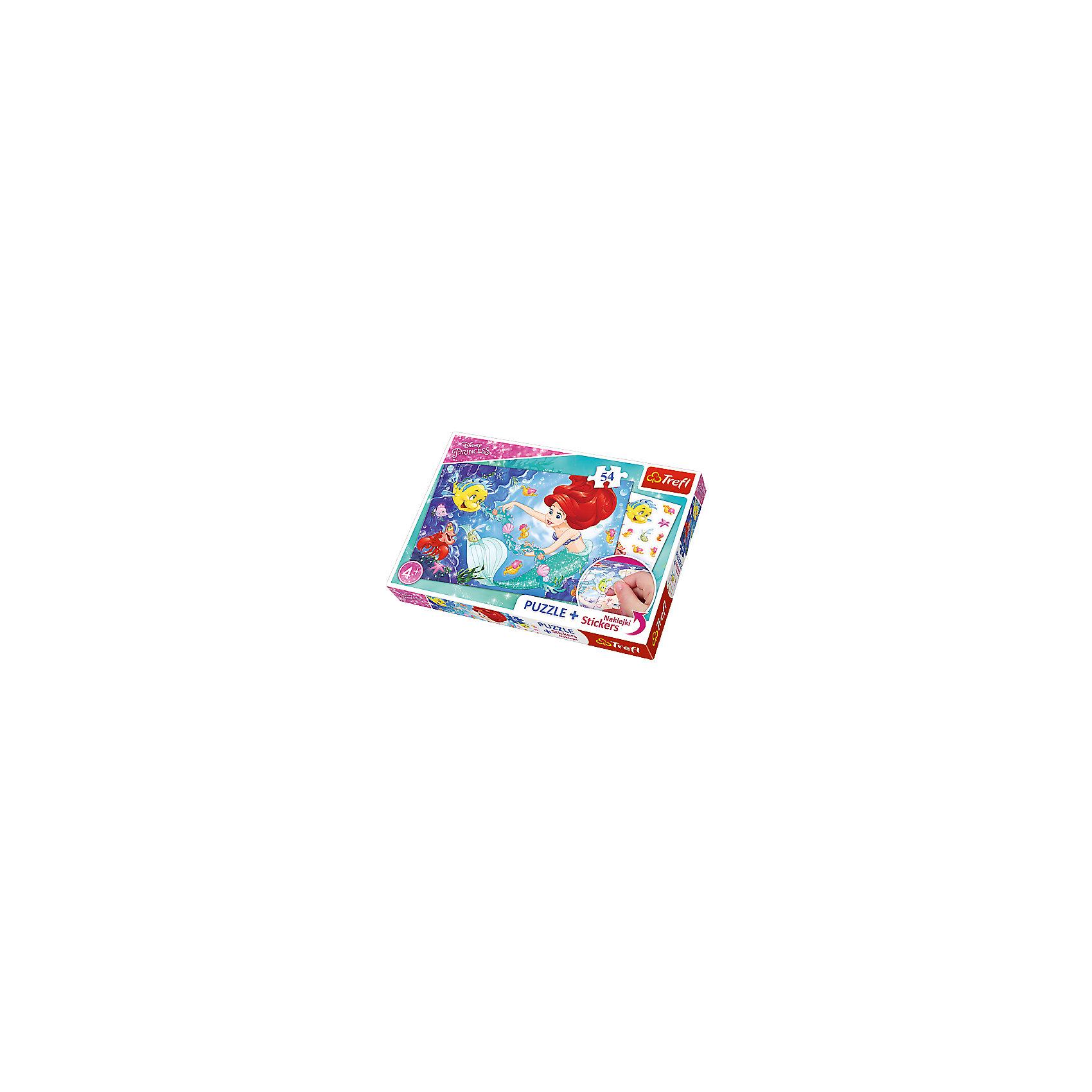 Пазлы Ариэль среди рыб, с наклейкамиПазлы для малышей<br>Огненно-рыжая Ариэль в компании своих добродушных друзей привлечет внимание маленькой непоседы! Пазл «Алиэль среди рыб» из 54 деталей и набором красочных стикеров станет отличным подарком для фанатки мультфильма Уолта Диснея.  Благодаря прочным и крупным элементам головоломки, ребенку будет удобно собирать картинку. Готовое изображение буквально оживет, когда кроха наклеит на него несколько ярких стикеров с обитателями подводного мира.  Сочное сочетание фиолетового, синего, голубого, бирюзового и оранжево-красного цветов подарит заряд бодрости ребенку и сможет украсить детскую комнату.  В наборе: 54 детали пазла, стикеры.  Размер картинки в собранном виде: 33х22 см<br><br>Ширина мм: 336<br>Глубина мм: 233<br>Высота мм: 43<br>Вес г: 326<br>Возраст от месяцев: 60<br>Возраст до месяцев: 84<br>Пол: Женский<br>Возраст: Детский<br>Количество деталей: 54<br>SKU: 5390257