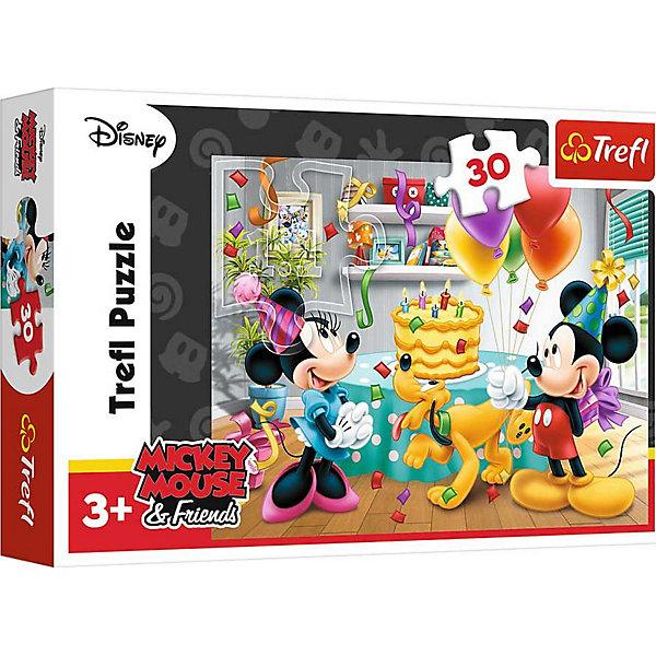Пазлы Торт на День Рождения, 30 элементовМикки Маус и друзья<br>Пазлы Trefl 18211 Торт на День Рождения, 30 элементов посвящены празднику диснеевских героев. Минни Маус празднует свой пятый день рождения. Поздравить ее пришли<br>Микки Маус и его питомец - собака Плуто. <br><br>Головоломка состоит из 30 элементов. Все они изготовлены из прочного и безопасного картона. Благодаря использованию высокоточного оборудования компания Трефл сумела добиться отличной стыкуемости деталей пазла. Поэтому с решением этой головоломки сможет справиться даже малыш.<br><br>Пазл может быть рекомендован для детей в возрасте от 3 лет.<br><br>Ширина мм: 215<br>Глубина мм: 144<br>Высота мм: 43<br>Вес г: 167<br>Возраст от месяцев: 48<br>Возраст до месяцев: 72<br>Пол: Унисекс<br>Возраст: Детский<br>Количество деталей: 30<br>SKU: 5390263