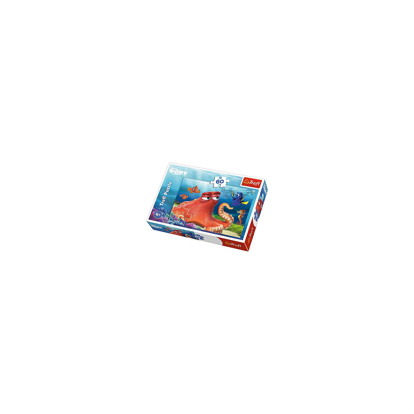 Пазл Дисней «Встреча с Хэнком», 60 элементовВ поисках Дори<br>Пазл Дисней «Встреча с Хэнком»  даст возможность вашему ребенку очутиться в мире подводных приключений вместе с любимыми персонажами мультфильма. На яркой красочной картинке, на фоне подводной растительности, изображены известные персонажи – Хэнк, Дори, Немо, Марлин и морской конек Шельфик. Хэнк – это большой и мудрый оранжевый осьминог. Все его друзья тоже имеют яркую окраску. Собрав картинку, ребенок сможет украсить ей стену в своей комнате. <br>Пазлы выполнены из плотного картона высокого качества и легко складываются между собой. <br>Пазл включает в себя 60 элементов. Размер картинки в собранном виде: 33 х 22 см. <br>Рекомендуемый возраст – от 4 лет.<br><br>Ширина мм: 215<br>Глубина мм: 144<br>Высота мм: 43<br>Вес г: 206<br>Возраст от месяцев: 60<br>Возраст до месяцев: 84<br>Пол: Женский<br>Возраст: Детский<br>Количество деталей: 60<br>SKU: 5390266