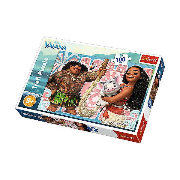 Пазл «Моана», 100 деталей, TreflПазлы для малышей<br>Характеристики товара:<br><br>• возраст от 6 лет;<br>• материал: картон;<br>• в комплекте: 100 элементов;<br>• размер пазла 41х28 см;<br>• размер упаковки 28,8х19,3х4,1 см;<br>• вес упаковки 270 гр.;<br>• страна производитель: Польша.<br><br>Пазл «Моана» Trefl создан по мотивам известного мультфильма Дисней. На картинке изображена Моана, которая держит в руках свинку Пуа. Рядом с ней стоит Мауи. Вместе с Мауи они отправились на поиски сказочного острова. Собирание пазла не просто увлекательное занятие, оно также развивает у детей внимательность, усидчивость, логическое мышление. Все детали выполнены из качественного плотного картона.<br><br>Пазл «Моана» Trefl можно приобрести в нашем интернет-магазине.<br><br>Ширина мм: 289<br>Глубина мм: 193<br>Высота мм: 40<br>Вес г: 313<br>Возраст от месяцев: 72<br>Возраст до месяцев: 96<br>Пол: Женский<br>Возраст: Детский<br>Количество деталей: 100<br>SKU: 5390268