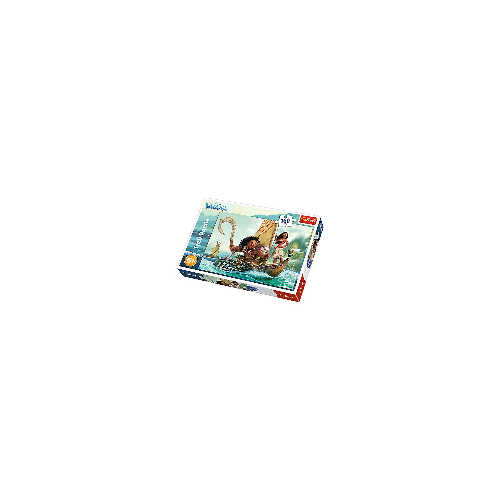 Пазл «Моана и Мауи», 160 деталей, TreflКлассические пазлы<br>Характеристики товара:<br><br>• возраст от 6 лет;<br>• материал: картон;<br>• в комплекте: 160 элементов;<br>• размер пазла 41х28 см;<br>• размер упаковки 28,8х19,3х4,1 см;<br>• вес упаковки 305 гр.;<br>• страна производитель: Польша.<br><br>Пазл «Моана и Мауи» Trefl создан по мотивам известного мультфильма Дисней. На картинке изображены Моана и Мауи вместе со свинкой Пуа и петушком Хейхей, плывущие на лодке в поисках сказочного острова. Собирание пазла не просто увлекательное занятие, оно также развивает у детей внимательность, усидчивость, логическое мышление. Все детали выполнены из качественного плотного картона.<br><br>Пазл «Моана и Мауи» Trefl можно приобрести в нашем интернет-магазине.<br><br>Ширина мм: 291<br>Глубина мм: 195<br>Высота мм: 43<br>Вес г: 310<br>Возраст от месяцев: 72<br>Возраст до месяцев: 108<br>Пол: Женский<br>Возраст: Детский<br>Количество деталей: 160<br>SKU: 5390273