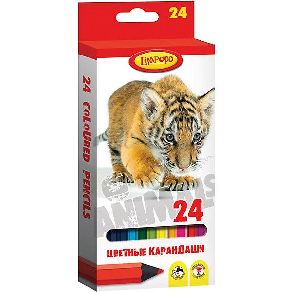 Цветные карандаши Хищники 24 цветаПисьменные принадлежности<br>Характеристики цветных карандашей Хищники:<br><br>• материал: картон, пластик, графит<br>• размер упаковки в 21х2х9 см<br>• вес товара 152 г<br>• категория товара: карандаши цветные 24 цвета<br>• бренд: Limpopo<br>• страна производитель: Китай<br><br>Карандаши 24 цвета Хищники, пластиковый корпус — это настоящая находка для начинающего художника. Они имеют качественные стержни, не стираются и не выцветают со временем. А большая цветовая палитра позволит изобразить мир на бумаге в ярких тонах. Ваш ребенок будет в восторге!<br><br>Цветные карандаши Хищники от торговой марки Limpopo можно купить в нашем интернет-магазине.<br>Ширина мм: 8; Глубина мм: 200; Высота мм: 90; Вес г: 150; Возраст от месяцев: 48; Возраст до месяцев: 144; Пол: Унисекс; Возраст: Детский; SKU: 5390289;