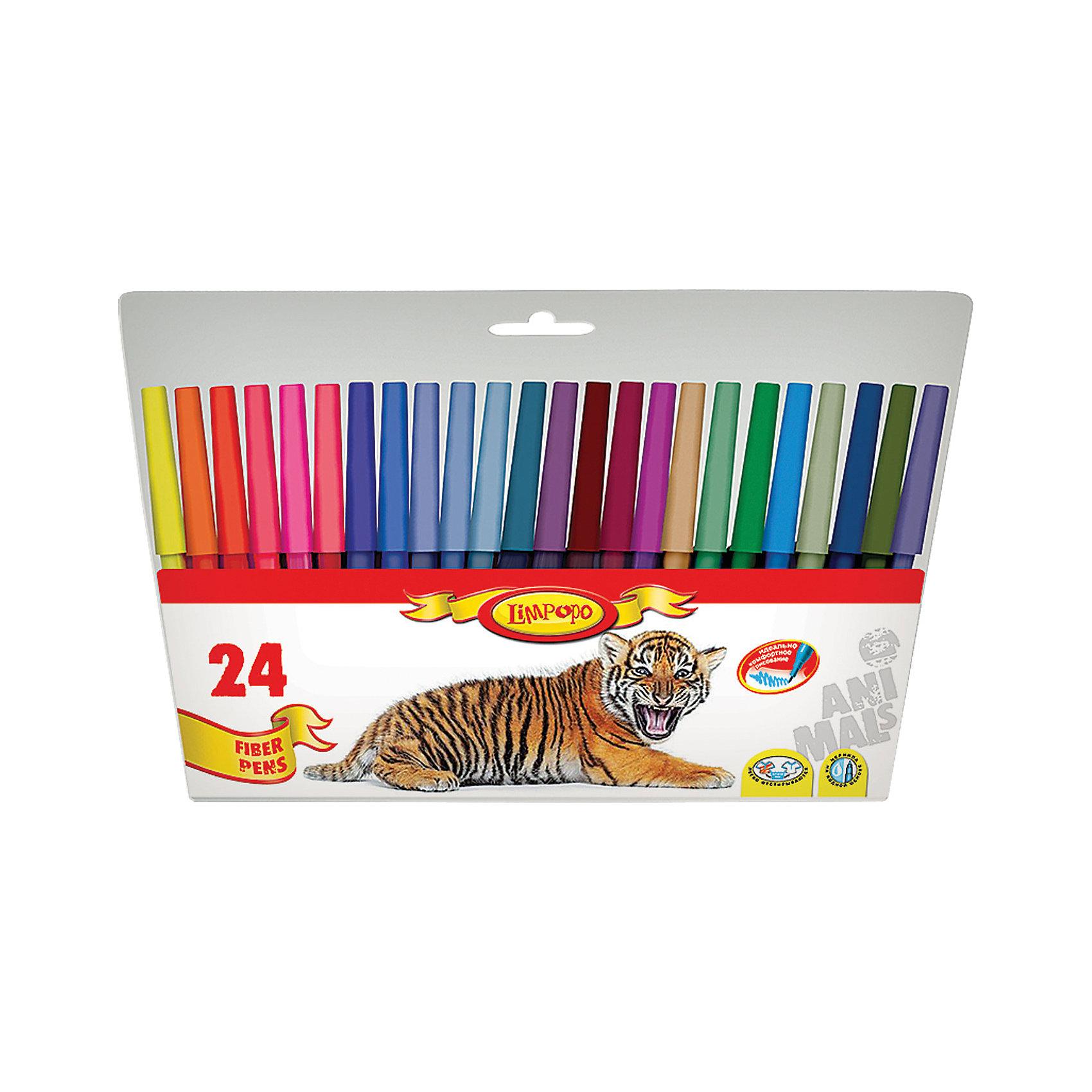 Фломастеры Хищники 24 цветаПисьменные принадлежности<br>Фломастеры Хищники 24 цвета, Limpopo (Лимпопо)<br><br>Характеристики:<br><br>• безопасные чернила<br>• яркие цвета<br>• вентилируемый колпачок<br>• привлекательный дизайн упаковки для любителей животных<br>• в комплекте: 24 фломастера<br>• размер упаковки: 15х1х23 см<br>• вес: 112 грамм<br><br>Каждый ребенок любит рисовать фломастерами, ведь они очень яркие и удобные. Набор фломастеров Хищники создан специально для поклонников животных. В комплект входят 24 фломастера ярких цветов. Чернила экологические и безопасные для ребенка. Вентилируемый колпачок препятствует быстрому высыханию. С этим набором у малыша получатся самые красивые рисунки!<br><br>Фломастеры Хищники 24 цвета, Limpopo (Лимпопо) вы можете купить в нашем интернет-магазине.<br><br>Ширина мм: 230<br>Глубина мм: 10<br>Высота мм: 150<br>Вес г: 112<br>Возраст от месяцев: 48<br>Возраст до месяцев: 144<br>Пол: Унисекс<br>Возраст: Детский<br>SKU: 5390292