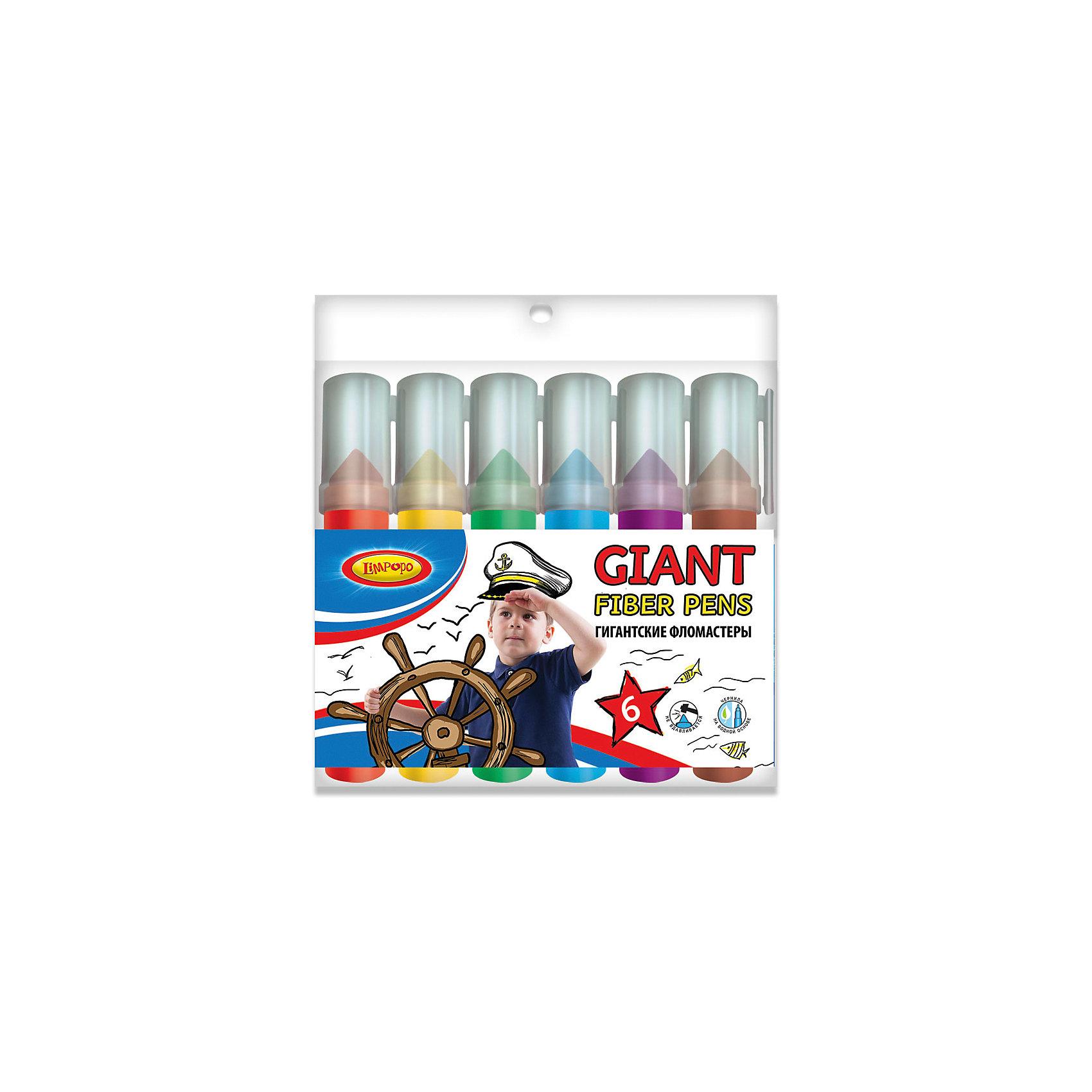 Фломастеры-гиганты Супер-дети 6 цветовФломастеры-гиганты Супер-дети 6 цветов, Limpopo (Лимпопо)<br><br>Характеристики:<br><br>• безопасные чернила<br>• яркие цвета<br>• вентилируемый колпачок<br>• пенал на молнии<br>• привлекательный дизайн упаковки<br>• в комплекте: 6 фломастеров<br>• размер упаковки: 16х15,5х2 см<br>• вес: 148 грамм<br><br>Рисование фломастерами - очень полезное и увлекательное занятие. А если фломастеры большие, то они принесут много радости и положительных эмоций! Фломастеры-гиганты Супер-дети отличаются большим размером. Юный художник обязательно сможет найти им применение. В комплект входят 6 фломастеров с вентилируемым колпачком. Чернила безопасны для ребенка. Вентилируемый колпачок предотвратит быстрое высыхание. Пенал имеет молнию, с помощью которой можно застегнуть упаковку после рисования.<br><br>Фломастеры-гиганты Супер-дети 6 цветов, Limpopo (Лимпопо) вы можете купить в нашем интернет-магазине.<br><br>Ширина мм: 155<br>Глубина мм: 20<br>Высота мм: 160<br>Вес г: 148<br>Возраст от месяцев: 36<br>Возраст до месяцев: 96<br>Пол: Унисекс<br>Возраст: Детский<br>SKU: 5390294