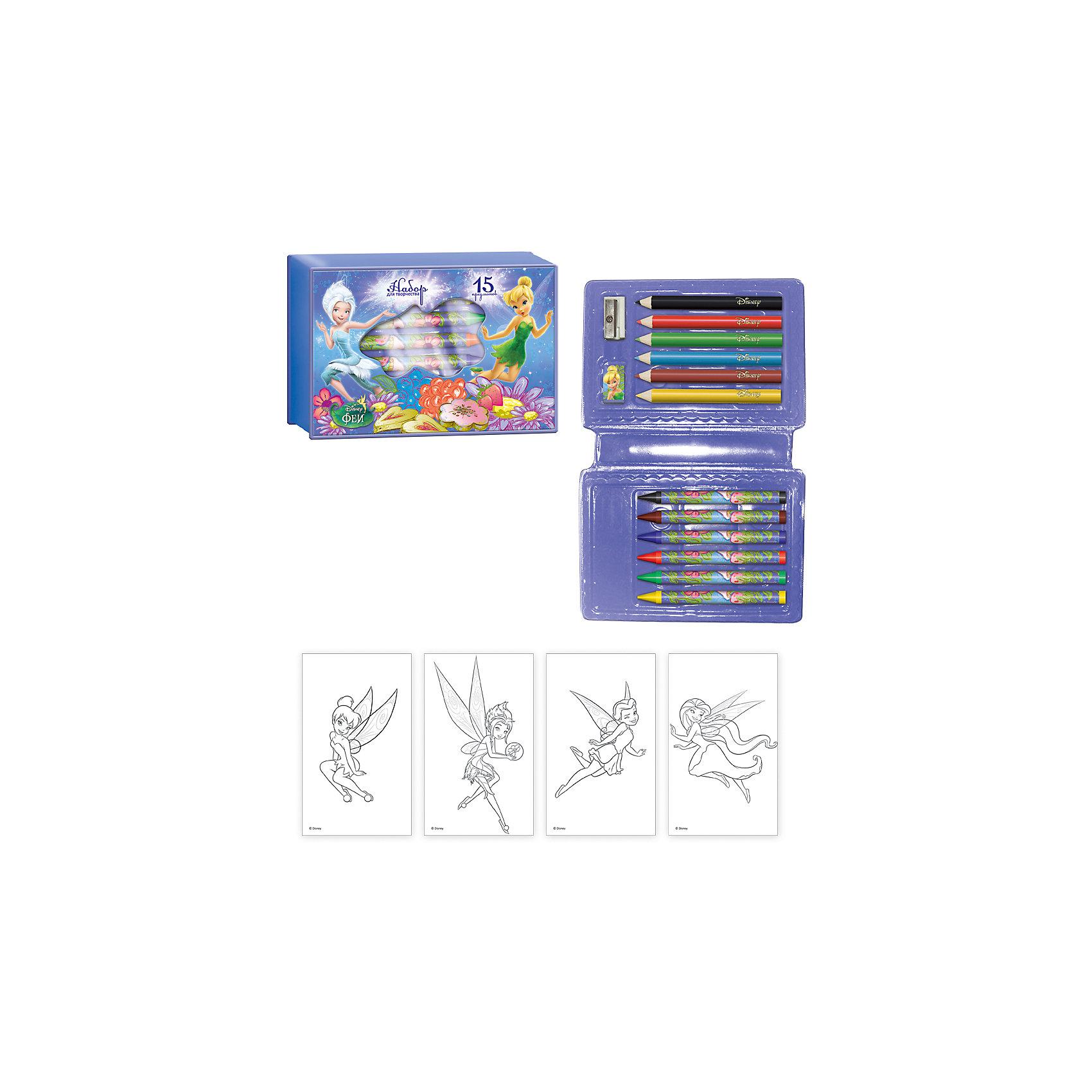 Подарочный набор Феи Дисней 15 предметовШкольные аксессуары<br>Подарочный набор Феи Дисней 15 предметов, Limpopo (Лимпопо)<br><br>Характеристики:<br><br>• яркая подарочная упаковка с изображением любимых героев Дисней<br>• яркие цвета<br>• можно взять с собой в дорогу<br>• в комплекте: 6 карандашей, 6 восковых мелков, точилка, ластик, раскраска<br>• размер упаковки: 9,5х2,5х14 см<br>• вес: 87 грамм<br><br>Что нужно для хорошего настроения? Набор для рисования и волшебные феи Дисней! В набор Феи Дисней входят восковые мелки, карандаши, точилка, ластик и, конечно же, раскраска с любимыми героинями. Набор в компактной упаковке удобно взять с собой в дорогу. Яркая подарочная упаковка обязательно вдохновит ребёнка на новые рисунки!<br><br>Подарочный набор Феи Дисней 15 предметов, Limpopo (Лимпопо) вы можете купить в нашем интернет-магазине.<br><br>Ширина мм: 140<br>Глубина мм: 25<br>Высота мм: 95<br>Вес г: 87<br>Возраст от месяцев: 48<br>Возраст до месяцев: 144<br>Пол: Женский<br>Возраст: Детский<br>SKU: 5390300
