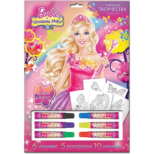 Набор для рисования BarbieНаборы для раскрашивания<br>Набор для рисования Barbie, Limpopo (Лимпопо)<br><br>Характеристики:<br><br>• раскраски с персонажами Барби<br>• яркие цвета<br>• в комплекте: 5 раскрасок, фломастеры (6 шт.), 10 наклеек<br>• размер упаковки: 24х33х23 см<br>• вес: 120 грамм<br><br>Набор для рисования Barbie порадует юную художницу. В него входят фломастеры, несколько раскрасок с изображением любимых героев и наклейки. Девочка сможет оживить картинку яркими цветами и дополнить ее наклейками. С таким набором проявить фантазию очень просто!<br><br>Набор для рисования Barbie, Limpopo (Лимпопо) вы можете купить в нашем интернет-магазине.<br>Ширина мм: 230; Глубина мм: 330; Высота мм: 240; Вес г: 120; Возраст от месяцев: 48; Возраст до месяцев: 144; Пол: Женский; Возраст: Детский; SKU: 5390302;