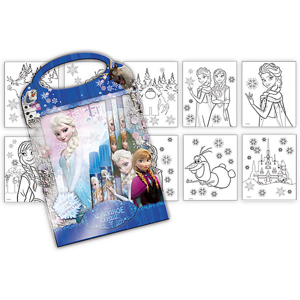 Канцелярский набор Холодное сердце 9 предметовХолодное Сердце<br>Канцелярский набор Холодное сердце 9 предметов, Limpopo (Лимпопо)<br><br>Характеристики:<br><br>• яркая упаковка с ручками<br>• 10 картинок с персонажами мультфильма<br>• в комплекте: 3 фломастера, карандаш, ластик, 3 листа наклеек, блокнот-раскраска( 10 листов)<br>• размер упаковки: 17,5х1,5х27,5 см<br>• вес: 111 грамм<br><br>Если ваш ребенок увлекается рисованием, то ему обязательно пригодится набор Холодное сердце. В него входят фломастеры, карандаш, ластик, наклейки и 10 листов с картинками, которые необходимо раскрасить. На картинках изображены персонажи мультфильма в черно-белом варианте. Раскрасьте их - и они словно оживут! Ребенок сможет проявить свою фантазию и раскрасить картинки по своему усмотрению, а затем дополнить их наклейками. Все предметы находятся в удобной упаковке с ручками, оформленной изображением из мультфильма.<br><br>Канцелярский набор Холодное сердце 9 предметов, Limpopo (Лимпопо) можно купить в нашем интернет-магазине.<br>Ширина мм: 275; Глубина мм: 15; Высота мм: 175; Вес г: 111; Возраст от месяцев: 48; Возраст до месяцев: 144; Пол: Женский; Возраст: Детский; SKU: 5390304;
