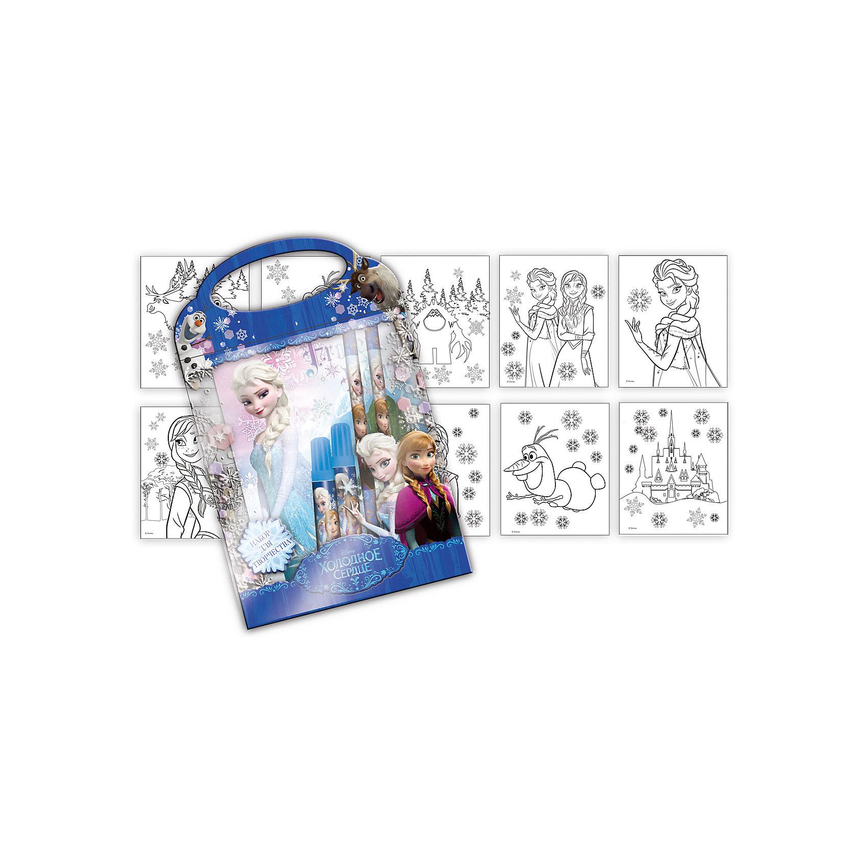 Канцелярский набор Холодное сердце 9 предметовКанцелярский набор Холодное сердце 9 предметов, Limpopo (Лимпопо)<br><br>Характеристики:<br><br>• яркая упаковка с ручками<br>• 10 картинок с персонажами мультфильма<br>• в комплекте: 3 фломастера, карандаш, ластик, 3 листа наклеек, блокнот-раскраска( 10 листов)<br>• размер упаковки: 17,5х1,5х27,5 см<br>• вес: 111 грамм<br><br>Если ваш ребенок увлекается рисованием, то ему обязательно пригодится набор Холодное сердце. В него входят фломастеры, карандаш, ластик, наклейки и 10 листов с картинками, которые необходимо раскрасить. На картинках изображены персонажи мультфильма в черно-белом варианте. Раскрасьте их - и они словно оживут! Ребенок сможет проявить свою фантазию и раскрасить картинки по своему усмотрению, а затем дополнить их наклейками. Все предметы находятся в удобной упаковке с ручками, оформленной изображением из мультфильма.<br><br>Канцелярский набор Холодное сердце 9 предметов, Limpopo (Лимпопо) можно купить в нашем интернет-магазине.<br><br>Ширина мм: 275<br>Глубина мм: 15<br>Высота мм: 175<br>Вес г: 111<br>Возраст от месяцев: 48<br>Возраст до месяцев: 144<br>Пол: Женский<br>Возраст: Детский<br>SKU: 5390304