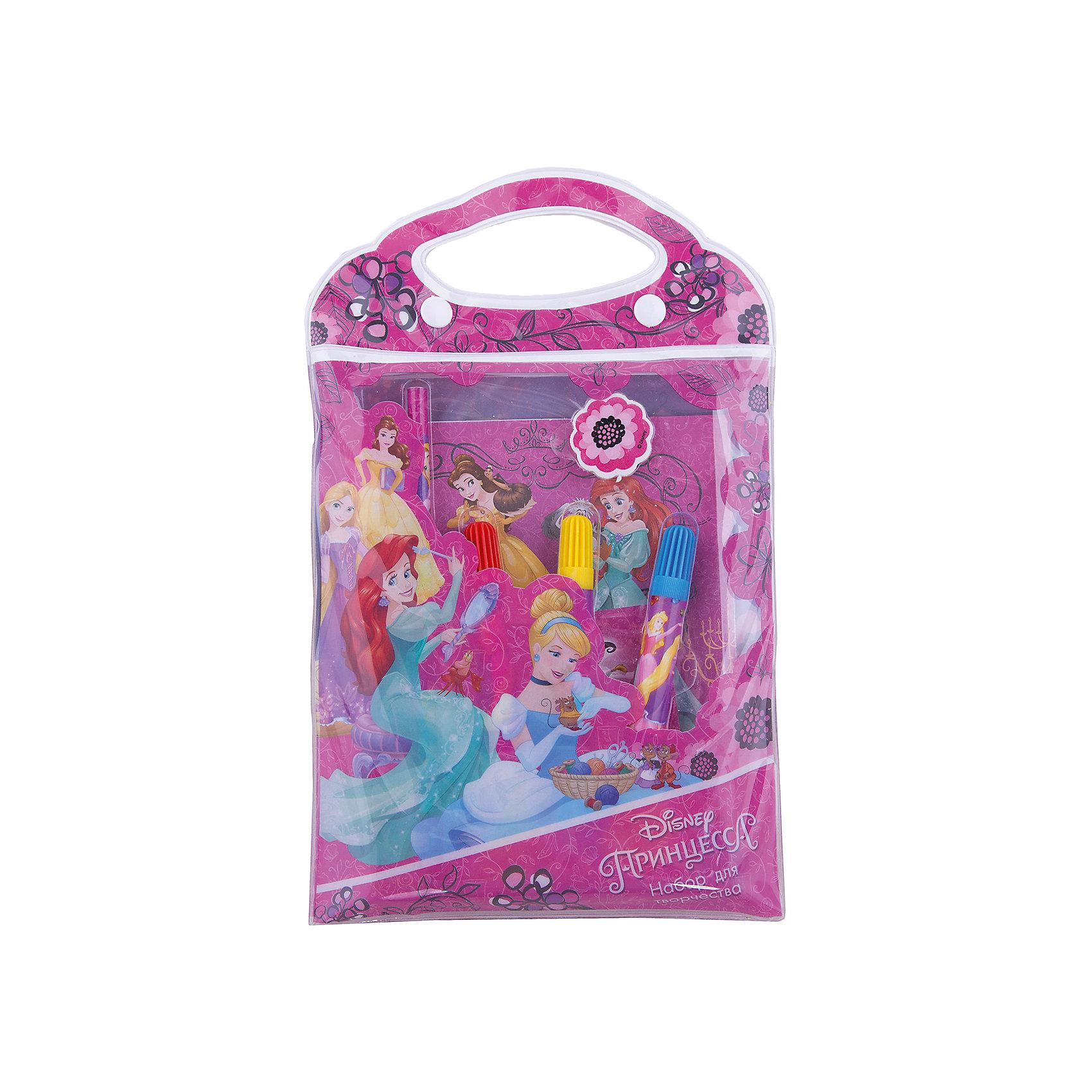 Канцелярский набор Принцессы Дисней 9 предметовШкольные аксессуары<br>Канцелярский набор Принцессы Дисней 9 предметов, Limpopo (Лимпопо)<br><br>Характеристики:<br><br>• яркая упаковка с ручками<br>• 10 картинок с персонажами мультфильма<br>• в комплекте: 3 фломастера, карандаш, ластик, 3 листа наклеек, блокнот-раскраска( 10 листов)<br>• размер упаковки: 17,5х1,5х27,5 см<br>• вес: 111 грамм<br><br>Если ваш ребенок увлекается рисованием, то ему обязательно пригодится набор Принцессы Дисней. В него входят фломастеры, карандаш, ластик, наклейки и 10 листов с картинками, которые необходимо раскрасить. На картинках изображены персонажи мультфильмов в черно-белом варианте. Раскрасьте их - и они словно оживут! Ребенок сможет проявить свою фантазию и раскрасить картинки по своему усмотрению, а затем дополнить их наклейками. Все предметы находятся в удобной упаковке с ручками, оформленной изображением из мультфильма.<br><br>Канцелярский набор Принцессы Дисней 9 предметов, Limpopo (Лимпопо) можно купить в нашем интернет-магазине.<br><br>Ширина мм: 275<br>Глубина мм: 15<br>Высота мм: 175<br>Вес г: 111<br>Возраст от месяцев: 48<br>Возраст до месяцев: 144<br>Пол: Женский<br>Возраст: Детский<br>SKU: 5390305