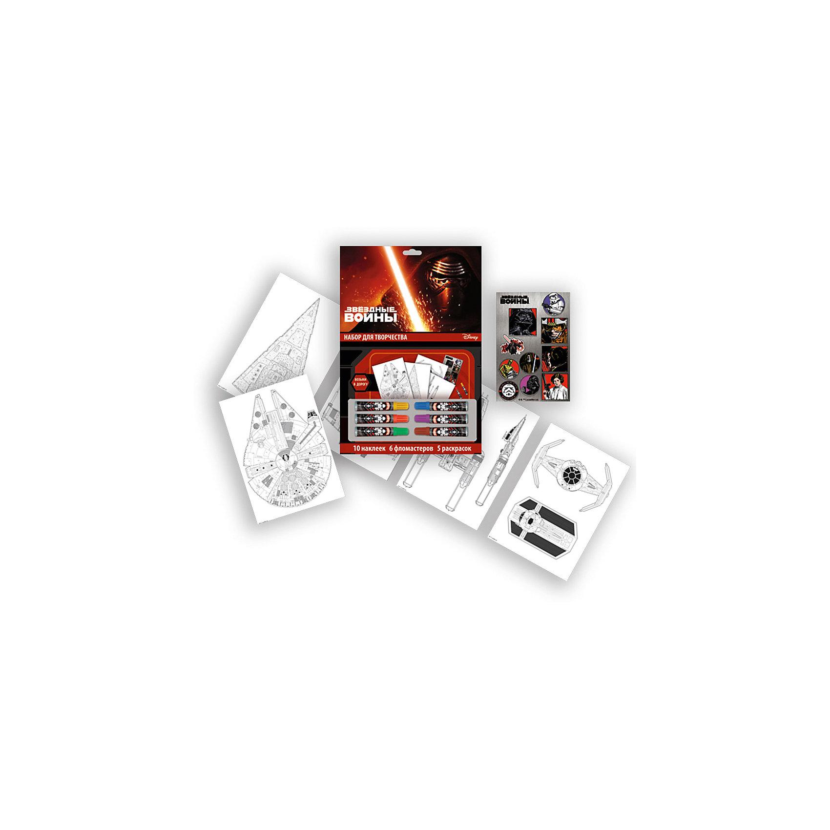 Набор для рисования Star WarsЗвездные войны Товары для фанатов<br>Набор для рисования Star Wars, Limpopo (Лимпопо)<br><br>Характеристики:<br><br>• раскраски с персонажами Звездных Войн<br>• яркие цвета<br>• в комплекте: 5 раскрасок, фломастеры (6 шт.), 10 наклеек<br>• размер упаковки: 37х33х23 см<br>• вес: 130 грамм<br><br>Набор для рисования Star Wars порадует юного художника. В него входят фломастеры, несколько раскрасок с изображением любимых героев легендарной саги и наклейки. Ребенок сможет ярко раскрасить картинку, а затем украсить ее наклейками. Star Wars - прекрасный подарок для маленьких художников!<br><br>Набор для рисования Star Wars, Limpopo (Лимпопо) вы можете купить в нашем интернет-магазине.<br><br>Ширина мм: 230<br>Глубина мм: 330<br>Высота мм: 370<br>Вес г: 130<br>Возраст от месяцев: 48<br>Возраст до месяцев: 144<br>Пол: Мужской<br>Возраст: Детский<br>SKU: 5390309