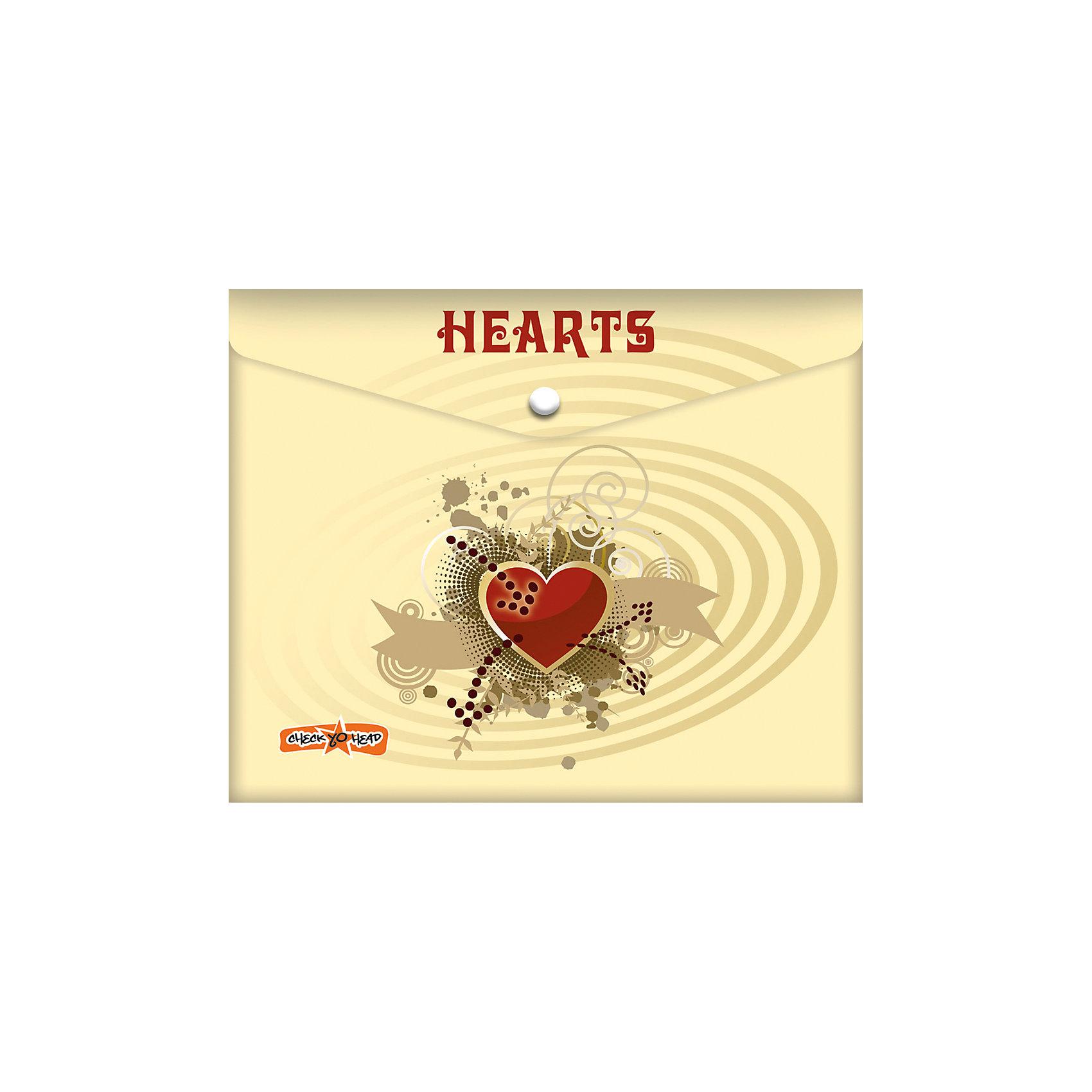 Папка-конверт под российскую тетрадь СердечкиПапка-конверт под российскую тетрадь Сердечки<br><br>Характеристики:<br><br>• Размер: 245х3х210мм<br>• Вес: 21г<br>• Толщина пластика: 180мкм<br>• Формат: А5+<br>• Крепление: на кнопке<br>• Материал: полипропилен<br><br>Красивый конверт с сердечками поможет переносить листы а4, а также любые тетради до размера А5+. Благодаря толстому пластику тетради надежно защищены от влаги или грязи. Папка закрывается на кнопку, которую легко расстегнуть самостоятельно и которая надежно удерживает тетради внутри.<br><br>Папка-конверт под российскую тетрадь Сердечки можно купить в нашем интернет-магазине.<br><br>Ширина мм: 245<br>Глубина мм: 3<br>Высота мм: 210<br>Вес г: 21<br>Возраст от месяцев: 48<br>Возраст до месяцев: 144<br>Пол: Женский<br>Возраст: Детский<br>SKU: 5390321