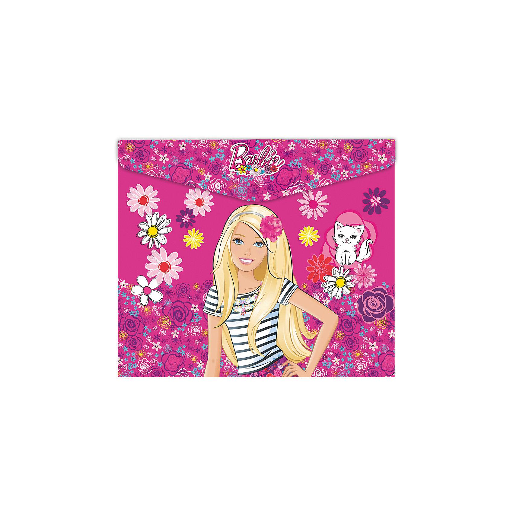 Конверт под российскую тетрадь BarbieПапки для тетрадей<br>Конверт под российскую тетрадь Barbie<br><br>Характеристики:<br><br>• Размер: 250х3х210мм<br>• Вес: 35г<br>• Толщина пластика: 180мкм<br>• Формат: А5+<br>• Крепление: на кнопке<br>• Материал: полипропилен<br><br>Красивый конверт с героями популярного мультфильма поможет переносить листы а4, а также любые тетради до размера А5+. Благодаря толстому пластику тетради надежно защищены от влаги или грязи. Папка закрывается на кнопку, которую легко расстегнуть самостоятельно и которая надежно удерживает тетради внутри.<br><br>Конверт под российскую тетрадь Barbie можно купить в нашем интернет-магазине.<br><br>Ширина мм: 250<br>Глубина мм: 3<br>Высота мм: 210<br>Вес г: 35<br>Возраст от месяцев: 48<br>Возраст до месяцев: 144<br>Пол: Женский<br>Возраст: Детский<br>SKU: 5390324