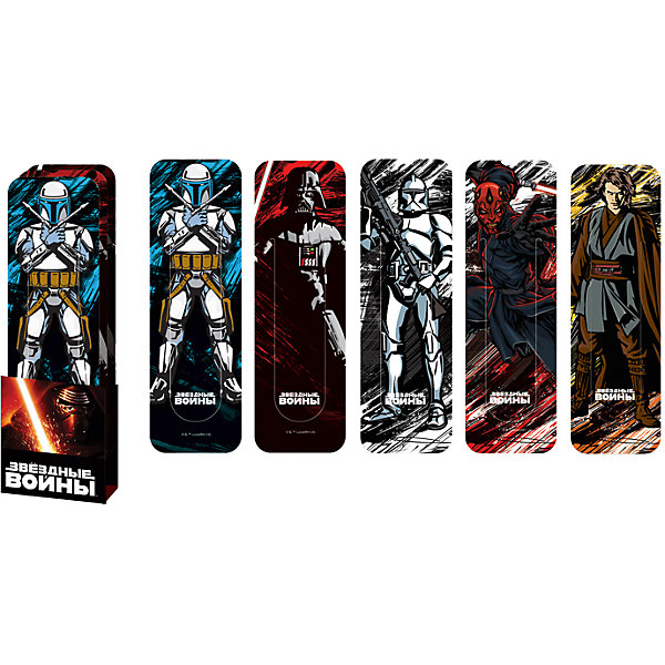 Набор фигурных закладок Star Wars (5 шт)Звездные войны<br>Набор фигурных закладок Star Wars (5 шт)<br><br>Характеристики:<br><br>• В комплекте: 5 штук<br>• Вес: 18г<br>• Размер: 190х30х60мм<br><br>Набор фигурных закладок с героями знаменитого фильма «Звездные войны» не оставит ребенка равнодушным. Такие закладки очень удобно фиксируют страницу, на которой остановился ребенок. Также их можно расположить сбоку, тем самым пометив строку, на которой остановили чтение.<br><br>Набор фигурных закладок Star Wars (5 шт) можно купить в нашем интернет-магазине.<br>Ширина мм: 190; Глубина мм: 30; Высота мм: 60; Вес г: 18; Возраст от месяцев: 48; Возраст до месяцев: 144; Пол: Мужской; Возраст: Детский; SKU: 5390331;