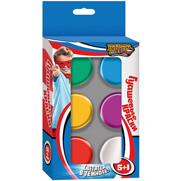 Гуашь 5 цветов + 1 (светится в темноте), CreativeРисование и лепка<br>Гуашь 5 цветов + 1 (светится в темноте), Creative<br><br>Характеристики:<br><br>• Количество цветов: 5 обычных, 1 светящийся в темноте<br>• Объем: по 25мл каждого цвета<br>• В комплекте: краски, кисть<br><br>Гуашь подойдет для самых маленьких детей, которые только начинают свой путь художника. Малыш сможет нарисовать свои первые картины используя кисточку, которая идет в комплекте. 5 ярких, красивых цветов сделают рисунок шедевром, а светящийся в темноте оттенок порадует малыша своей магией. Краски полностью безопасны для нежной кожи малыша.<br><br>Гуашь 5 цветов + 1 (светится в темноте), Creative можно купить в нашем интернет-магазине.<br><br>Ширина мм: 120<br>Глубина мм: 35<br>Высота мм: 240<br>Вес г: 270<br>Возраст от месяцев: 36<br>Возраст до месяцев: 96<br>Пол: Унисекс<br>Возраст: Детский<br>SKU: 5390336