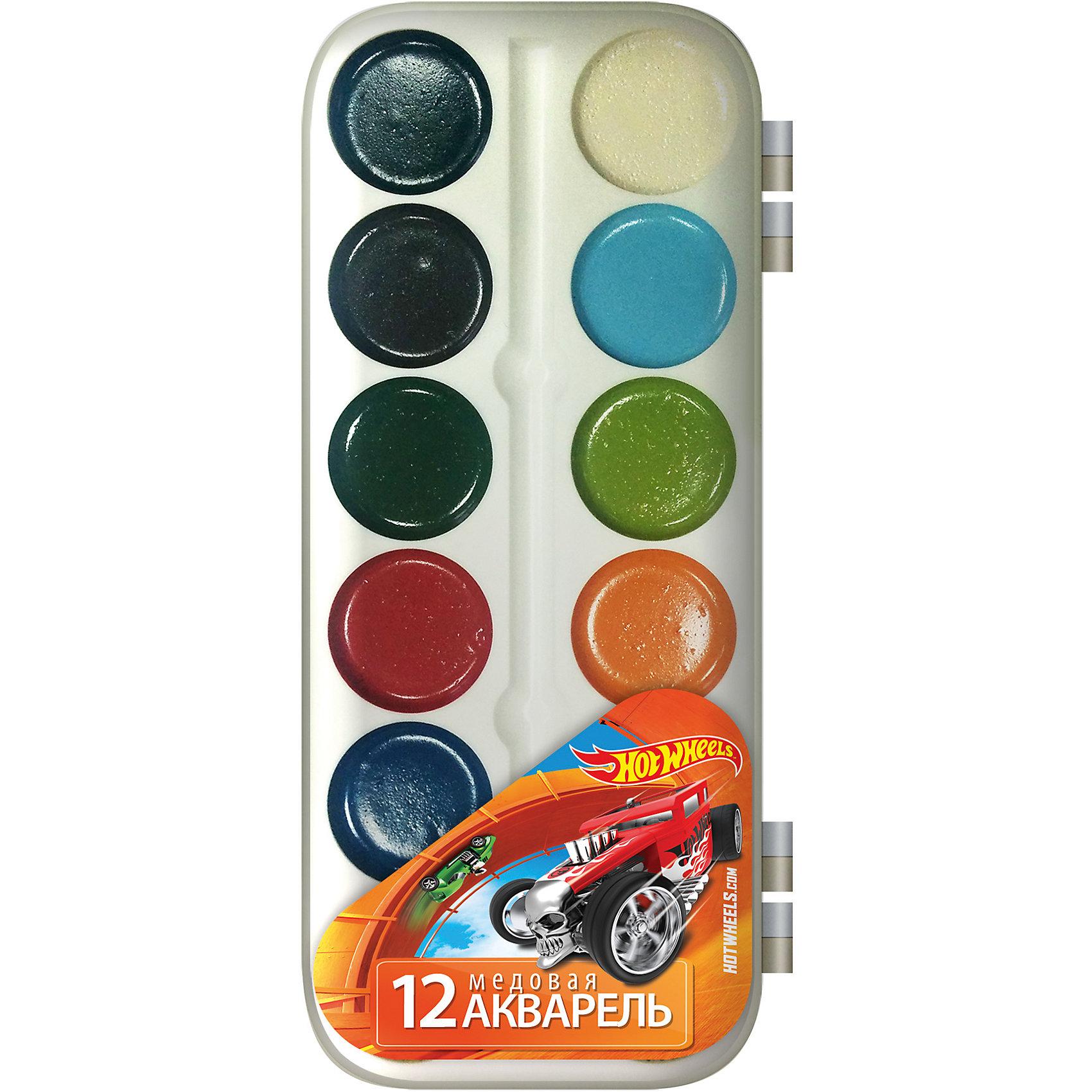Акварельные медовые краски (12 цветов), Hot WheelsАкварельные медовые краски (12 цветов), Hot Wheels<br><br>Характеристики:<br><br>• Количество цветов: 12<br>• Тип: акварельные медовые<br>• Упаковка: пластиковая<br>• Вес: 66г<br>• Размер: 170х10х80мм<br><br>Медовые акварельные краски самые безопасные для малыша. Ими легко рисовать или раскрашивать с самого юного возраста. 12 красивых, ярких цветов в пластиковой коробочке с любимыми героями мультфильма не оставят ребенка равнодушным. Данная акварель хорошо ложится на бумагу и не требует большого количества воды.<br><br>Акварельные медовые краски (12 цветов), Hot Wheels можно купить в нашем интернет-магазине.<br><br>Ширина мм: 170<br>Глубина мм: 80<br>Высота мм: 10<br>Вес г: 66<br>Возраст от месяцев: 48<br>Возраст до месяцев: 144<br>Пол: Мужской<br>Возраст: Детский<br>SKU: 5390340