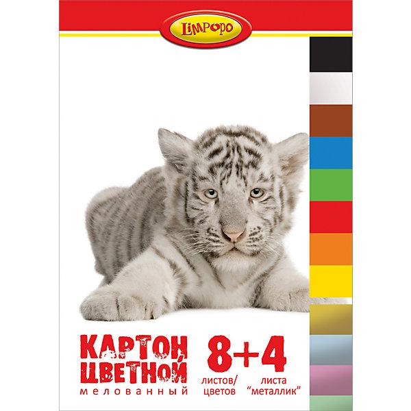 Цветной картон А4 Хищники, 12 листовБумажная продукция<br>Цветной картон А4 Хищники, 12 листов<br><br>Характеристики:<br><br>• Формат: А4<br>• Количество цветов: 8 стандартных, 4 металлизированных<br>• Количество листов: 12<br>• Папка: картонная с клапаном<br><br>Цветной картон одна из основных вещей, которая требуется на уроке труда. Стандартный набор из 8 самых главных цветов поможет ребенку сделать многочисленные поделки из картона. Кроме этого в комплекте идут 4 дополнительных металлизированных цвета. Папка закрывается на клапан, что предотвратит выскальзывания картона. <br><br>Цветной картон А4 Хищники, 12 листов можно купить в нашем интернет-магазине.<br>Ширина мм: 300; Глубина мм: 5; Высота мм: 320; Вес г: 203; Возраст от месяцев: 48; Возраст до месяцев: 144; Пол: Унисекс; Возраст: Детский; SKU: 5390341;