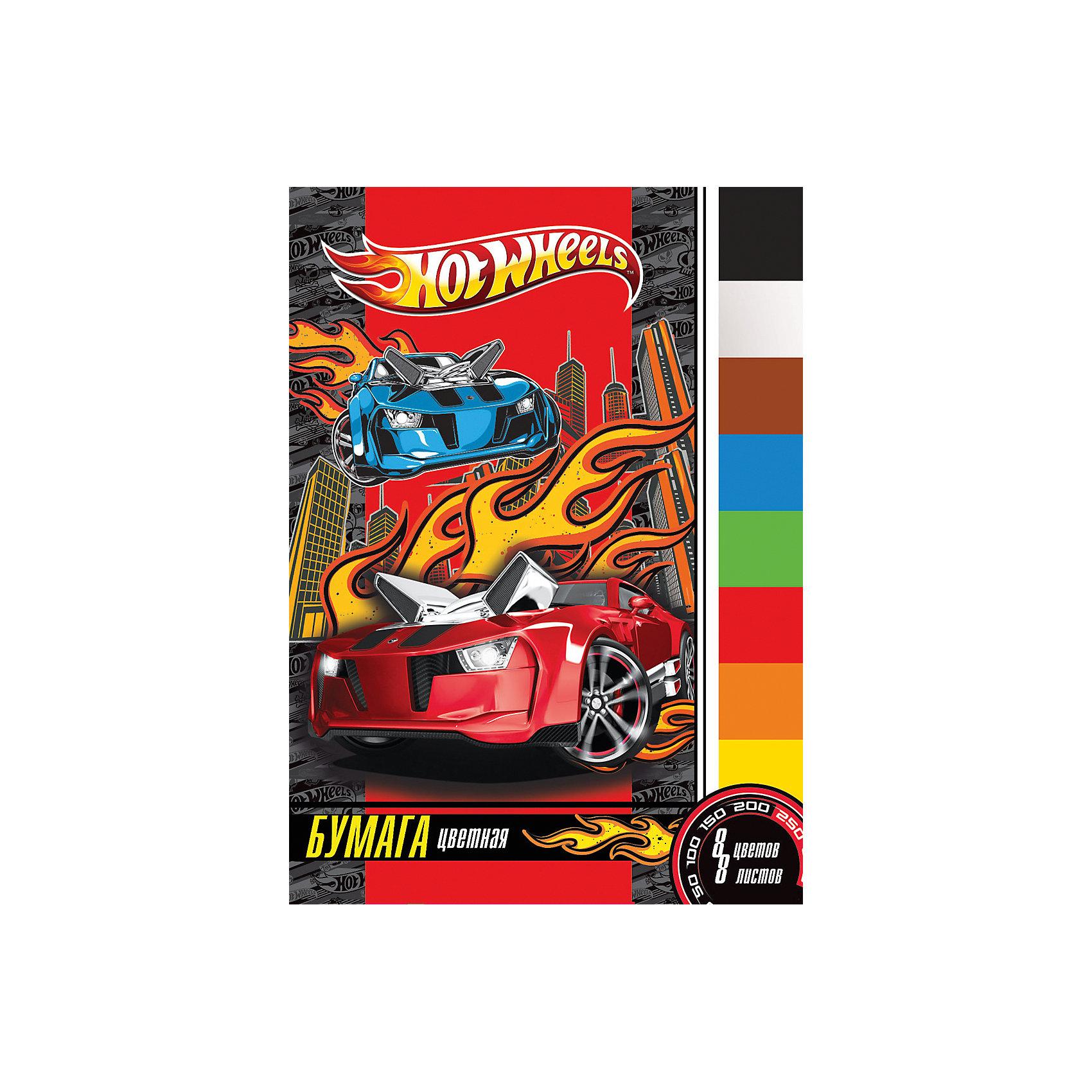Цветная бумага (8 цветов, 8 листов), Hot WheelsHot Wheels<br>Цветная бумага (8 цветов, 8 листов), Hot Wheels<br><br>Характеристики:<br><br>• Количество цветов: 8<br>• Количество листов: 8<br>• Формат: А4<br>• Тип крепления: на скрепке<br>• Немелованная<br><br>Набор включает в себя 8 разноцветных листов. Качественная немелованная бумага поможет ребенку сделать множество поделок, аппликаций или цветных оригами. Крепление на скрепке очень удобное. Оно предотвращает выпадение бумаги и с него удобно снимать листы на уроках.<br><br>Цветная бумага (8 цветов, 8 листов), Hot Wheels можно купить в нашем интернет-магазине.<br><br>Ширина мм: 297<br>Глубина мм: 3<br>Высота мм: 230<br>Вес г: 34<br>Возраст от месяцев: 48<br>Возраст до месяцев: 144<br>Пол: Мужской<br>Возраст: Детский<br>SKU: 5390343