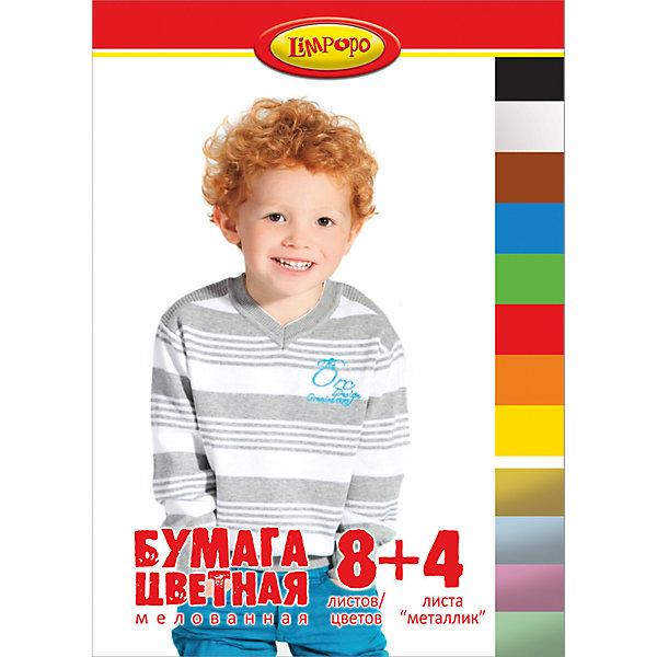 Цветная бумага Дети, 12 листовБумажная продукция<br>Цветная бумага Дети, 12 листов<br><br>Характеристики:<br><br>• Количество цветов: 8 стандартных, 4 металлизированных<br>• Количество листов: 12<br>• Формат: А4<br>• Тип крепления: на скрепке<br>• Мелованная<br><br>Набор включает в себя 8 стандартных цветов и 4 металлизированных оттенка для разнообразия поделок. Качественная мелованная бумага поможет ребенку сделать множество поделок, аппликаций или цветных оригами. Крепление на скрепке очень удобное. Оно предотвращает выпадение бумаги и с него удобно снимать листы на уроках.<br><br>Цветная бумага Дети, 12 листов можно купить в нашем интернет-магазине.<br>Ширина мм: 290; Глубина мм: 3; Высота мм: 205; Вес г: 72; Возраст от месяцев: 48; Возраст до месяцев: 144; Пол: Унисекс; Возраст: Детский; SKU: 5390344;