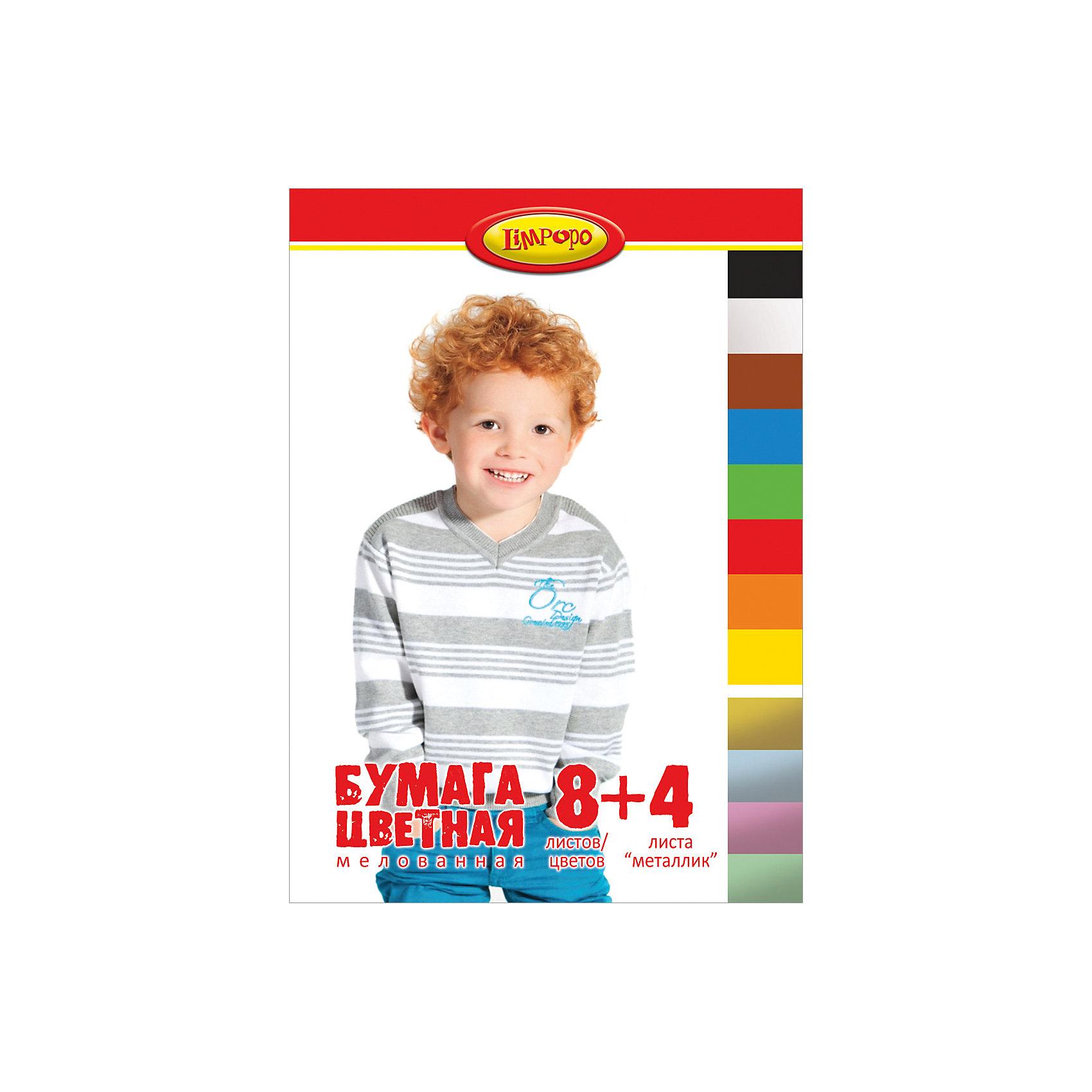 Цветная бумага Дети, 12 листовБумажная продукция<br>Цветная бумага Дети, 12 листов<br><br>Характеристики:<br><br>• Количество цветов: 8 стандартных, 4 металлизированных<br>• Количество листов: 12<br>• Формат: А4<br>• Тип крепления: на скрепке<br>• Мелованная<br><br>Набор включает в себя 8 стандартных цветов и 4 металлизированных оттенка для разнообразия поделок. Качественная мелованная бумага поможет ребенку сделать множество поделок, аппликаций или цветных оригами. Крепление на скрепке очень удобное. Оно предотвращает выпадение бумаги и с него удобно снимать листы на уроках.<br><br>Цветная бумага Дети, 12 листов можно купить в нашем интернет-магазине.<br><br>Ширина мм: 290<br>Глубина мм: 3<br>Высота мм: 205<br>Вес г: 72<br>Возраст от месяцев: 48<br>Возраст до месяцев: 144<br>Пол: Унисекс<br>Возраст: Детский<br>SKU: 5390344