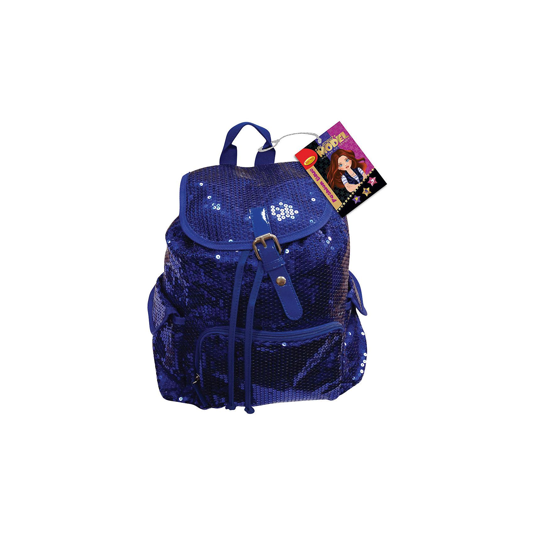 Синий рюкзак Fashion Style Super ModelРюкзаки<br>Синий рюкзак Fashion Style Super Model, Limpopo (Лимпопо)<br><br>Характеристики:<br><br>• вместительное отделение<br>• регулируемые лямки<br>• внешний карман<br>• два боковых кармана<br>• насыщенный цвет<br>• украшен пайетками<br>• материал: 100% полиэстер<br>• размер упаковки: 38х3х39 см<br>• вес: 583 грамма<br>• цвет: синий<br><br>Рюкзак Fashion Style Super Model создан специально для юных модниц. Он отличается модным дизайном: материал насыщенного синего цвета, украшенный блестящими пайетками никого не оставит равнодушным! Изделие имеет одно основное вместительное отделение, внешний карман и два боковых кармана. Надёжная застежка-ремешок предотвратит потерю вещей. Лямки рюкзака регулируются по росту ребёнка. Рюкзак изготовлен из прочного полиэстера.<br><br>Синий рюкзак Fashion Style Super Model, Limpopo (Лимпопо) можно купить в нашем интернет-магазине.<br><br>Ширина мм: 390<br>Глубина мм: 30<br>Высота мм: 380<br>Вес г: 583<br>Возраст от месяцев: 84<br>Возраст до месяцев: 216<br>Пол: Женский<br>Возраст: Детский<br>SKU: 5390346