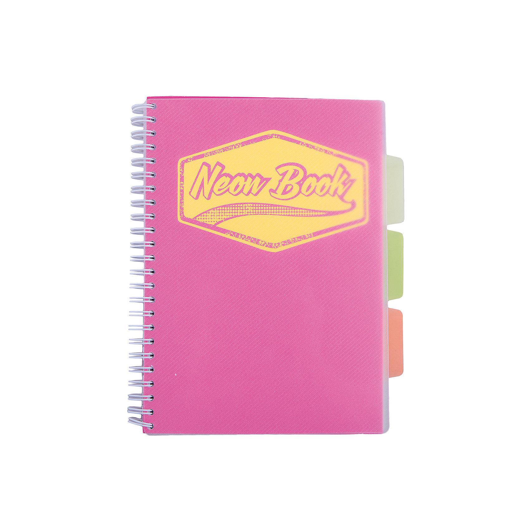 Розовая тетрадь А5 Neon book 120 листовБумажная продукция<br>Розовая тетрадь А5 Neon book 120 листов<br><br>Характеристики:<br><br>• Количество листов: 120<br>• Формат: А5<br>• Цвет: розовый<br>• Вес: 287г<br>• Размер: 203х15х168мм<br>• Тип: в клеточку, три разделителя<br><br>Большая общая тетрадь с тремя цветными разделителями идеально подойдет для дополнительных занятий или школьных уроков, где необходимо несколько тетрадей. Пластиковая обложка надежно защищает листы от попадания влаги. Крепление на гребне очень удобное и делает тетрадь компактной.<br><br>Розовую тетрадь А5 Neon book 120 листов можно купить в нашем интернет-магазине.<br><br>Ширина мм: 203<br>Глубина мм: 15<br>Высота мм: 168<br>Вес г: 287<br>Возраст от месяцев: 84<br>Возраст до месяцев: 360<br>Пол: Унисекс<br>Возраст: Детский<br>SKU: 5390348