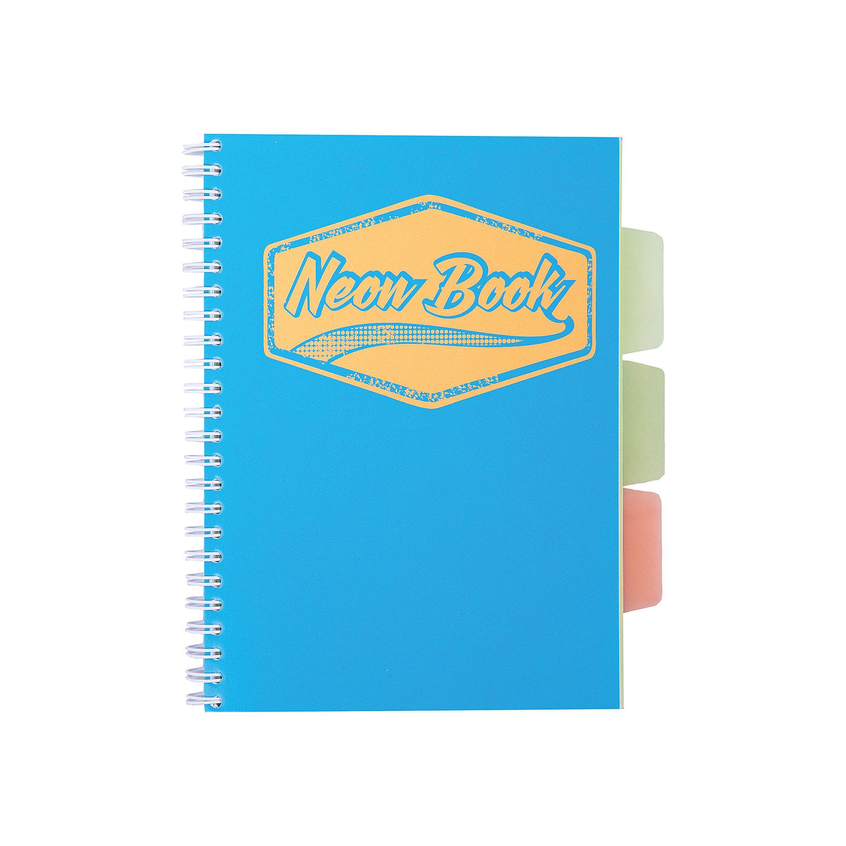 Синяя тетрадь А5 Neon book 120 листовБумажная продукция<br>Синяя тетрадь А5 Neon book 120 листов<br><br>Характеристики:<br><br>• Количество листов: 120<br>• Формат: А5<br>• Цвет: синий<br>• Вес: 287г<br>• Размер: 203х15х168мм<br>• Тип: в клеточку, три разделителя<br><br>Большая общая тетрадь с тремя цветными разделителями идеально подойдет для дополнительных занятий или школьных уроков, где необходимо несколько тетрадей. Пластиковая обложка надежно защищает листы от попадания влаги. Крепление на гребне очень удобное и делает тетрадь компактной.<br><br>Синюю тетрадь А5 Neon book 120 листов можно купить в нашем интернет-магазине.<br><br>Ширина мм: 203<br>Глубина мм: 15<br>Высота мм: 168<br>Вес г: 287<br>Возраст от месяцев: 84<br>Возраст до месяцев: 360<br>Пол: Унисекс<br>Возраст: Детский<br>SKU: 5390350