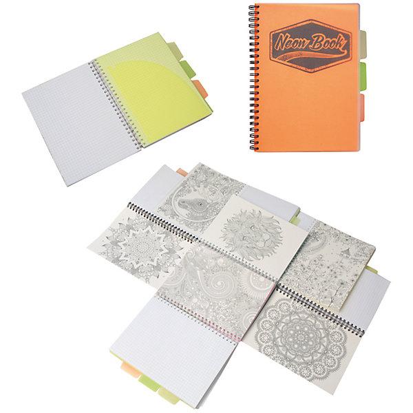 Оранжевая тетрадь А5 Neon book 120 листовБумажная продукция<br>Оранжевая тетрадь А5 Neon book 120 листов<br><br>Характеристики:<br><br>• Количество листов: 120<br>• Формат: А5<br>• Цвет: оранжевый<br>• Вес: 287г<br>• Размер: 203х15х168мм<br>• Тип: в клеточку, три разделителя<br><br>Большая общая тетрадь с тремя цветными разделителями идеально подойдет для дополнительных занятий или школьных уроков, где необходимо несколько тетрадей. Пластиковая обложка надежно защищает листы от попадания влаги. Крепление на гребне очень удобное и делает тетрадь компактной.<br><br>Оранжевую тетрадь А5 Neon book 120 листов можно купить в нашем интернет-магазине.<br>Ширина мм: 203; Глубина мм: 15; Высота мм: 168; Вес г: 287; Возраст от месяцев: 84; Возраст до месяцев: 360; Пол: Унисекс; Возраст: Детский; SKU: 5390351;