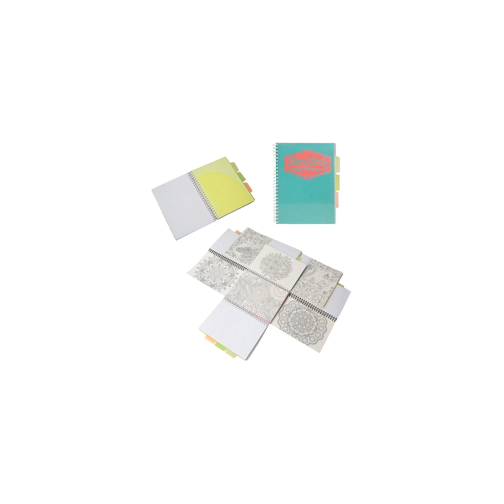 Бирюзовая тетрадь А5 Neon book 120 листовБирюзовая тетрадь А5 Neon book 120 листов<br><br>Характеристики:<br><br>• Количество листов: 120<br>• Формат: А5<br>• Цвет: бирюзовый<br>• Вес: 287г<br>• Размер: 203х15х168мм<br>• Тип: в клеточку, три разделителя<br><br>Большая общая тетрадь с тремя цветными разделителями идеально подойдет для дополнительных занятий или школьных уроков, где необходимо несколько тетрадей. Пластиковая обложка надежно защищает листы от попадания влаги. Крепление на гребне очень удобное и делает тетрадь компактной.<br> <br>Бирюзовую тетрадь А5 Neon book 120 листов можно купить в нашем интернет-магазине.<br><br>Ширина мм: 203<br>Глубина мм: 15<br>Высота мм: 168<br>Вес г: 287<br>Возраст от месяцев: 84<br>Возраст до месяцев: 360<br>Пол: Унисекс<br>Возраст: Детский<br>SKU: 5390352