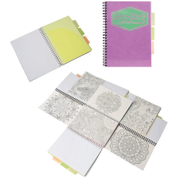 Фиолетовая тетрадь А5 Neon book 120 листовБумажная продукция<br>Фиолетовая тетрадь А5 Neon book 120 листов<br><br>Характеристики:<br><br>• Количество листов: 120<br>• Формат: А5<br>• Цвет: фиолетовый<br>• Вес: 287г<br>• Размер: 203х15х168мм<br>• Тип: в клеточку, три разделителя<br><br>Большая общая тетрадь с тремя цветными разделителями идеально подойдет для дополнительных занятий или школьных уроков, где необходимо несколько тетрадей. Пластиковая обложка надежно защищает листы от попадания влаги. Крепление на гребне очень удобное и делает тетрадь компактной.<br><br>Фиолетовую тетрадь А5 Neon book 120 листов можно купить в нашем интернет-магазине.<br><br>Ширина мм: 203<br>Глубина мм: 15<br>Высота мм: 168<br>Вес г: 287<br>Возраст от месяцев: 84<br>Возраст до месяцев: 360<br>Пол: Унисекс<br>Возраст: Детский<br>SKU: 5390353