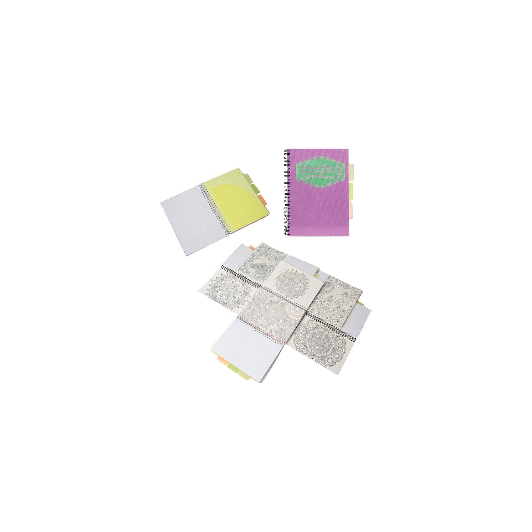 Фиолетовая тетрадь А5 Neon book 120 листовФиолетовая тетрадь А5 Neon book 120 листов<br><br>Характеристики:<br><br>• Количество листов: 120<br>• Формат: А5<br>• Цвет: фиолетовый<br>• Вес: 287г<br>• Размер: 203х15х168мм<br>• Тип: в клеточку, три разделителя<br><br>Большая общая тетрадь с тремя цветными разделителями идеально подойдет для дополнительных занятий или школьных уроков, где необходимо несколько тетрадей. Пластиковая обложка надежно защищает листы от попадания влаги. Крепление на гребне очень удобное и делает тетрадь компактной.<br><br>Фиолетовую тетрадь А5 Neon book 120 листов можно купить в нашем интернет-магазине.<br><br>Ширина мм: 203<br>Глубина мм: 15<br>Высота мм: 168<br>Вес г: 287<br>Возраст от месяцев: 84<br>Возраст до месяцев: 360<br>Пол: Унисекс<br>Возраст: Детский<br>SKU: 5390353