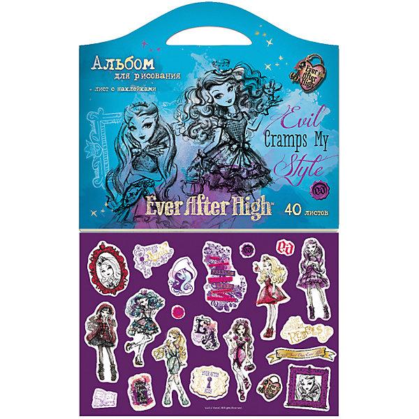 Альбом для рисования Ever after High 40 листовEver After High Товары для школы<br>Альбом для рисования Ever after High 40 листов<br><br>Характеристики:<br><br>• Количество листов: 40<br>• Формат: А4<br>• Размер: 300х5х260мм<br>• Вес: 382г<br>• Бумага: офсетная, 100г/м2<br>• Обложка: мелованный картон<br><br>Альбом с качественными листами, яркой обложкой и оригинальной формой в виде чемоданчика – заинтересует любого ребенка. Он поможет ребенку сделать рисунки любыми красками и всех уровней сложности. Кроме этого можно использовать фломастеры и маркеры, не боясь, что рисунки будут просвечиваться. Твердая обложка защитит картины от пыли, грязи и не даст им помяться. Теперь делать карандашные зарисовки или картины гуашью и акварелью – намного легче.<br><br>Альбом для рисования Ever after High 40 листов можно купить в нашем интернет-магазине.<br>Ширина мм: 300; Глубина мм: 5; Высота мм: 260; Вес г: 382; Возраст от месяцев: 36; Возраст до месяцев: 240; Пол: Женский; Возраст: Детский; SKU: 5390363;