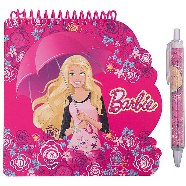 Блокнот А6 Barbie 40 листов + ручкаBarbie<br>Блокнот А6 Barbie 40 листов + ручка<br><br>Характеристики:<br><br>• Количество листов: 40 листов<br>• Крепление: спираль<br>• Обложка: мелованный картон<br>• Размер: 218х12х388мм<br>• Вес: 112г<br>• Формат: А6<br>• В комплекте: блокнот, ручка<br><br>Блокнот удобного формата А6 с изображением популярного мультфильма порадует любую девочку. Блокнот сделан из качественной бумаги, с яркой обложкой из мелованного картона и с безопасным креплением на спирали. В комплекте идет ручка с оригинальным дизайном и красивая подарочная упаковка. Такой набор идеально подойдет для подарка.<br><br>Блокнот А6 Barbie 40 листов + ручка можно купить в нашем интернет-магазине.<br><br>Ширина мм: 218<br>Глубина мм: 12<br>Высота мм: 388<br>Вес г: 112<br>Возраст от месяцев: 36<br>Возраст до месяцев: 144<br>Пол: Женский<br>Возраст: Детский<br>SKU: 5390368