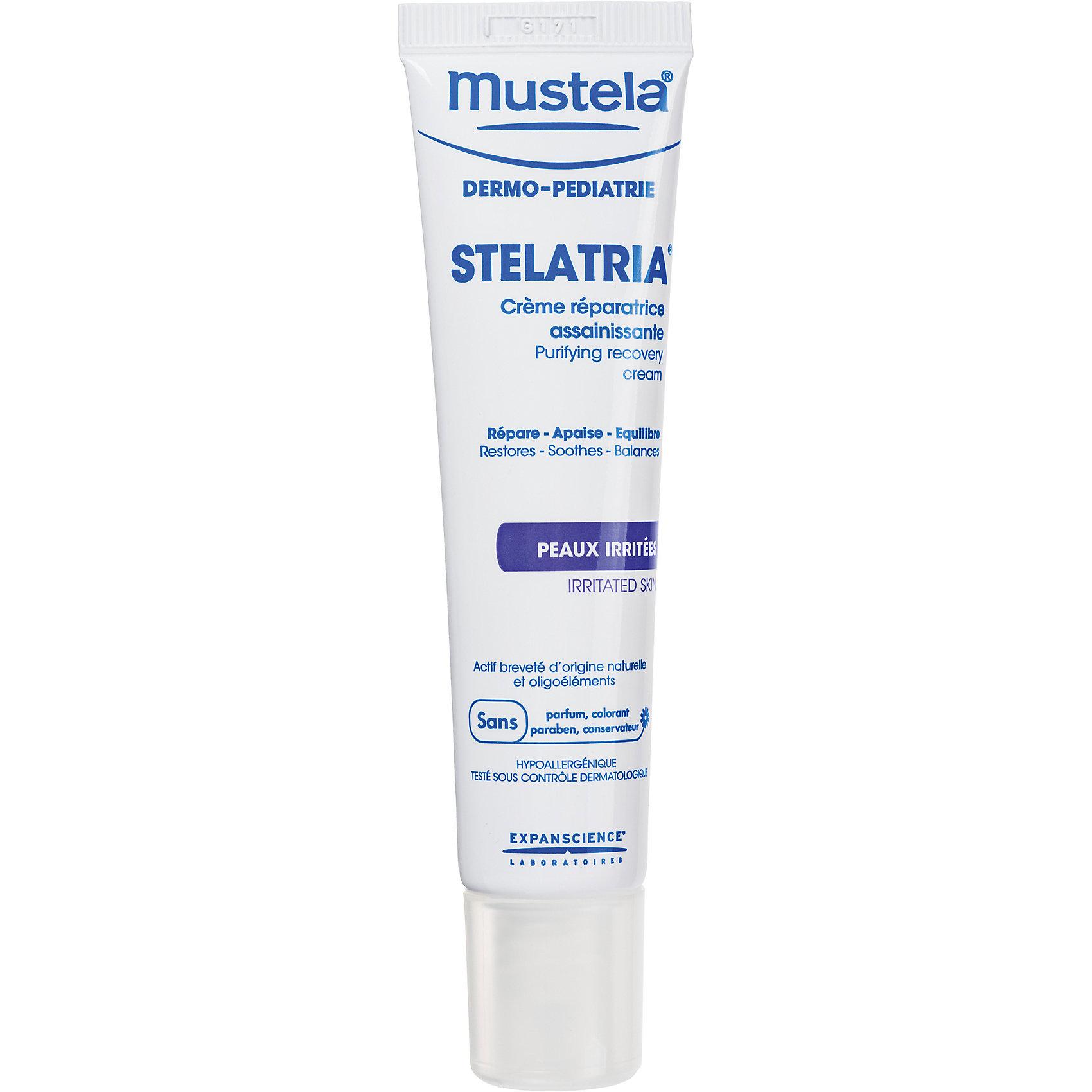 Эмульсия-крем восстанавливающая Stelatria, 40 мл., MustelaКосметика для младнецев<br>Эмульсия-крем восстанавливающая Stelatria, 40 мл., Mustela.<br><br>Характеристики:<br><br>- Средство: эмульсия.<br>- Объём:40 мл.<br><br>Для ухода за раздраженными участками кожи и локальными покраснениями на лице и теле новорожденных и детей. Длительный увлажняющий эффект, неокклюзивная формула. Эмулься – крем обладает следующими свойствами:<br>- комплекс микроэлементов ускоряет восстановление кожного барьера и стимулирует обновление клеток;<br>- помогает сократить риск размножения бактерий;<br>- активный компонент природного происхождения BioEcolia поддерживает баланс защитной микрофлоры кожи;<br>- длительный увлажняющий эффект, неокклюзивная формула;<br>- по мере использования средства раздражения постепенно проходят, а кожа вновь становится эластичной и сбалансированной.<br><br>Наносите 2-3 раза в день на чистую сухую кожу на раздраженные участки. Для очищения кожи рекомендуется использовать Очищающий защитный гель «Stelatria». Не использовать на мокнущих ранах. При покраснении ягодиц используйте Крем под подгузник 1 2 3.<br><br>Эмульсию-крем восстанавливающая Stelatria, 40 мл., Mustela (Мустела), можно купить в нашем интернет – магазине.<br><br>Ширина мм: 30<br>Глубина мм: 40<br>Высота мм: 155<br>Вес г: 59<br>Возраст от месяцев: 0<br>Возраст до месяцев: 36<br>Пол: Унисекс<br>Возраст: Детский<br>SKU: 5392925