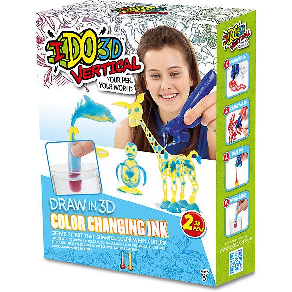 3D-ручка Вертикаль: Магия цвета, 2 ручки меняющие цвет,(желт/оранж+голуб/фиолет)Наборы 3D ручек<br>Революционная игрушка в области 3Д рисования, новинка 2016 -  Ручка 3D для рисования в воздухе, паста меняющая цвет в холодной воде. В наборе- 2 цветные 3D ручки, световая насадка для отверждения, трафареты и инструкция. Работает от 3-х батареек А76/(LR44) входят в набор.<br><br>Ширина мм: 21<br>Глубина мм: 7<br>Высота мм: 28<br>Вес г: 410<br>Возраст от месяцев: 96<br>Возраст до месяцев: 1188<br>Пол: Унисекс<br>Возраст: Детский<br>SKU: 5396519